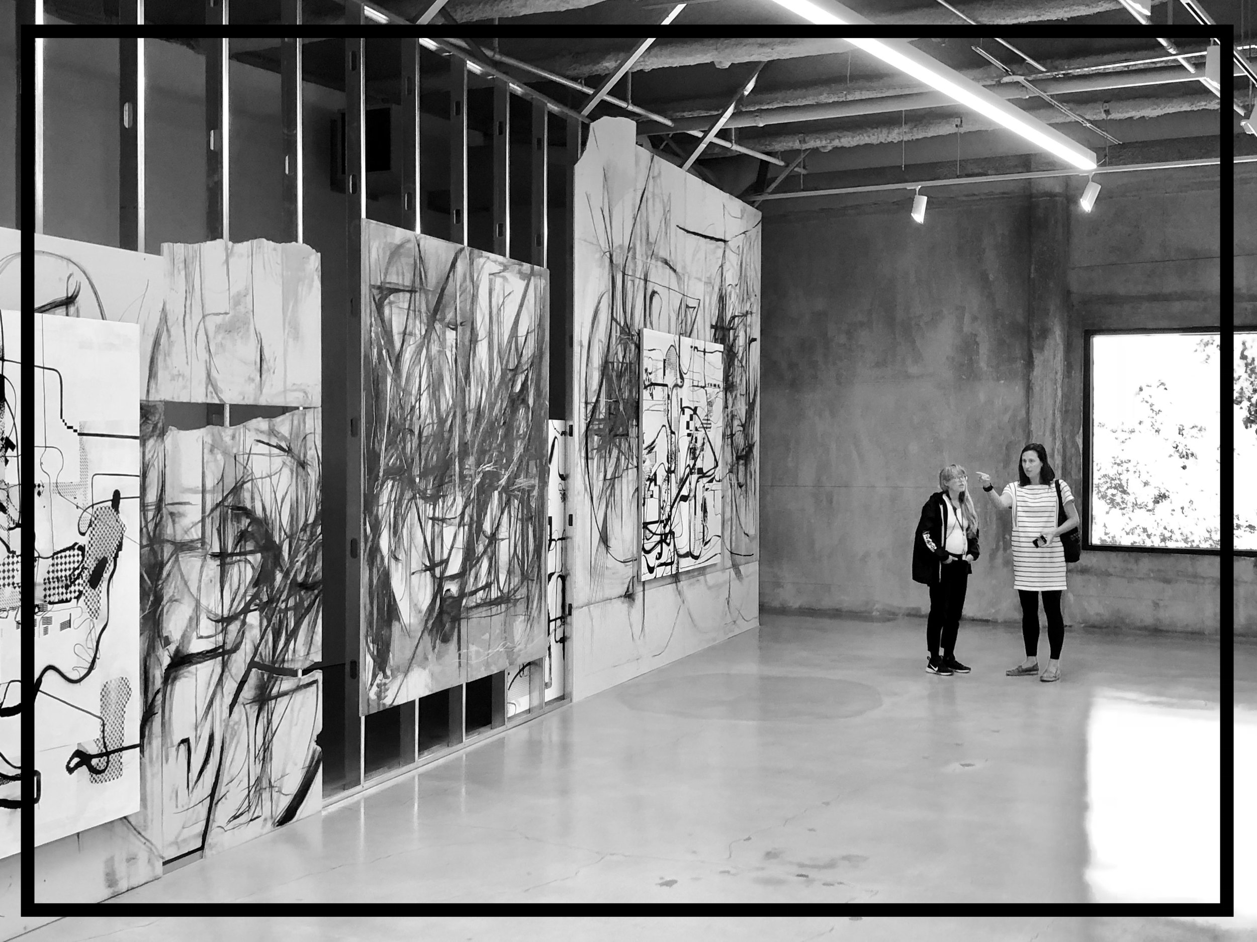 Peppi Bottrop and Albert Oehlen, artists, at Marciano Art Foundation, Los Angeles