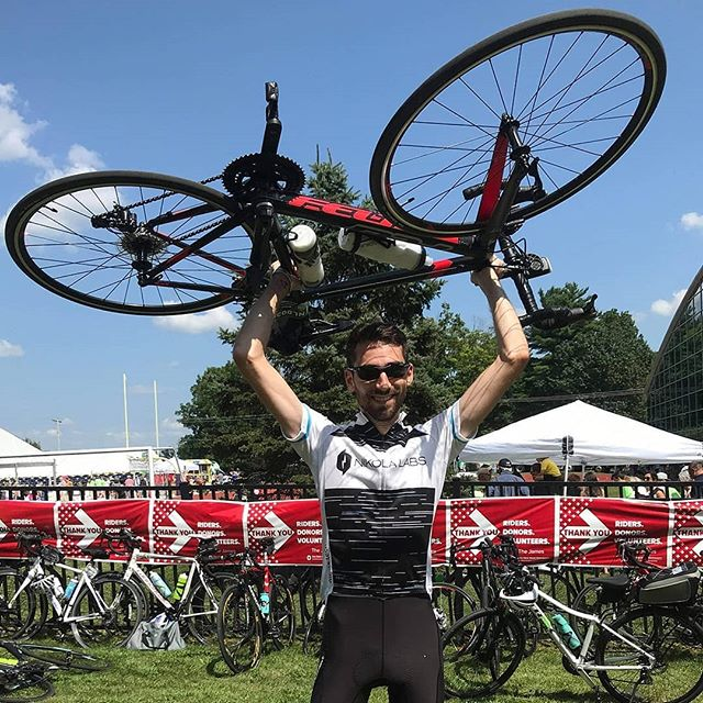"""I'm proud to ride for everyone who supported the @nikolalabs @pelotonia this year. Thank you for your support!  Noah Lemire, #electricalengineer"