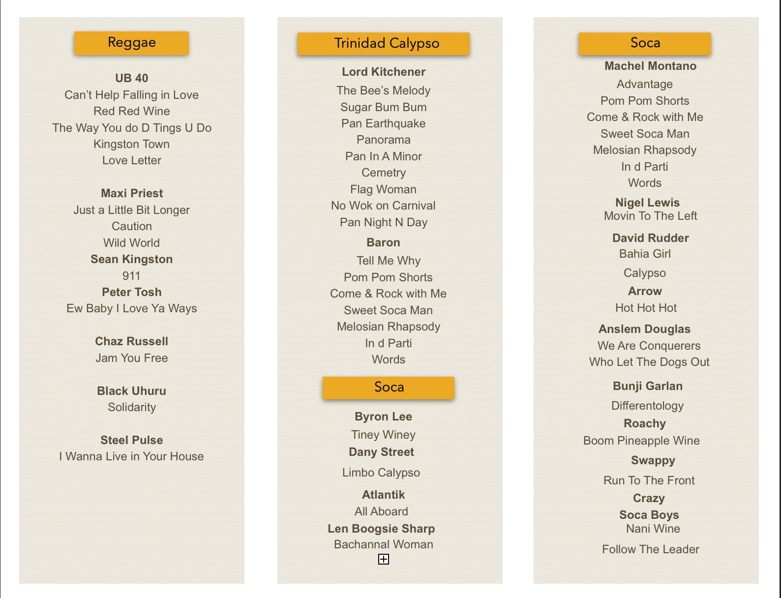 Reggae : Soca Song List.png