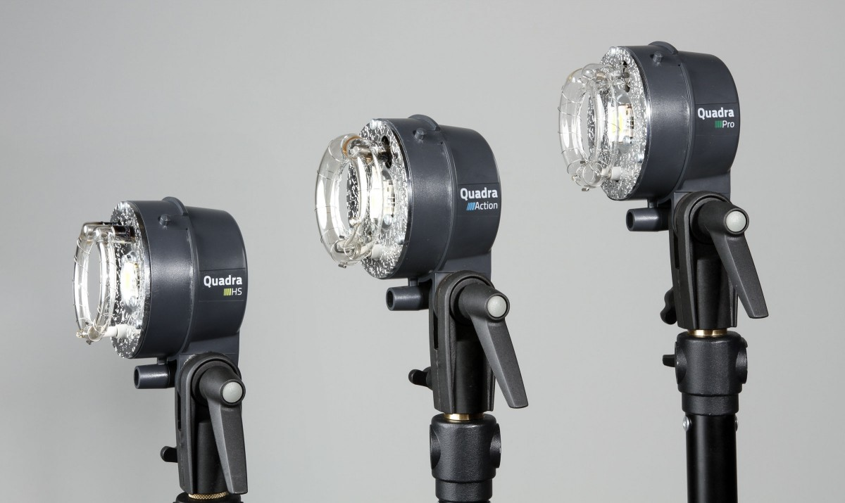 The Action, Pro and HS flash heads look nearly identical. The main difference is the flash tube and the flash duration these heads offer. - The goal is to understand which practical use would be best for each flash head and why you would want one over the other. The HS head (left) is the best fit for Hi-Sync. The Action head (middle) offers very fast flash duration and the Pro head (right) is for universal use. All of these flash heads will work with the Elinchrom Quadra and ELB 400 battery-powered strobe pack.