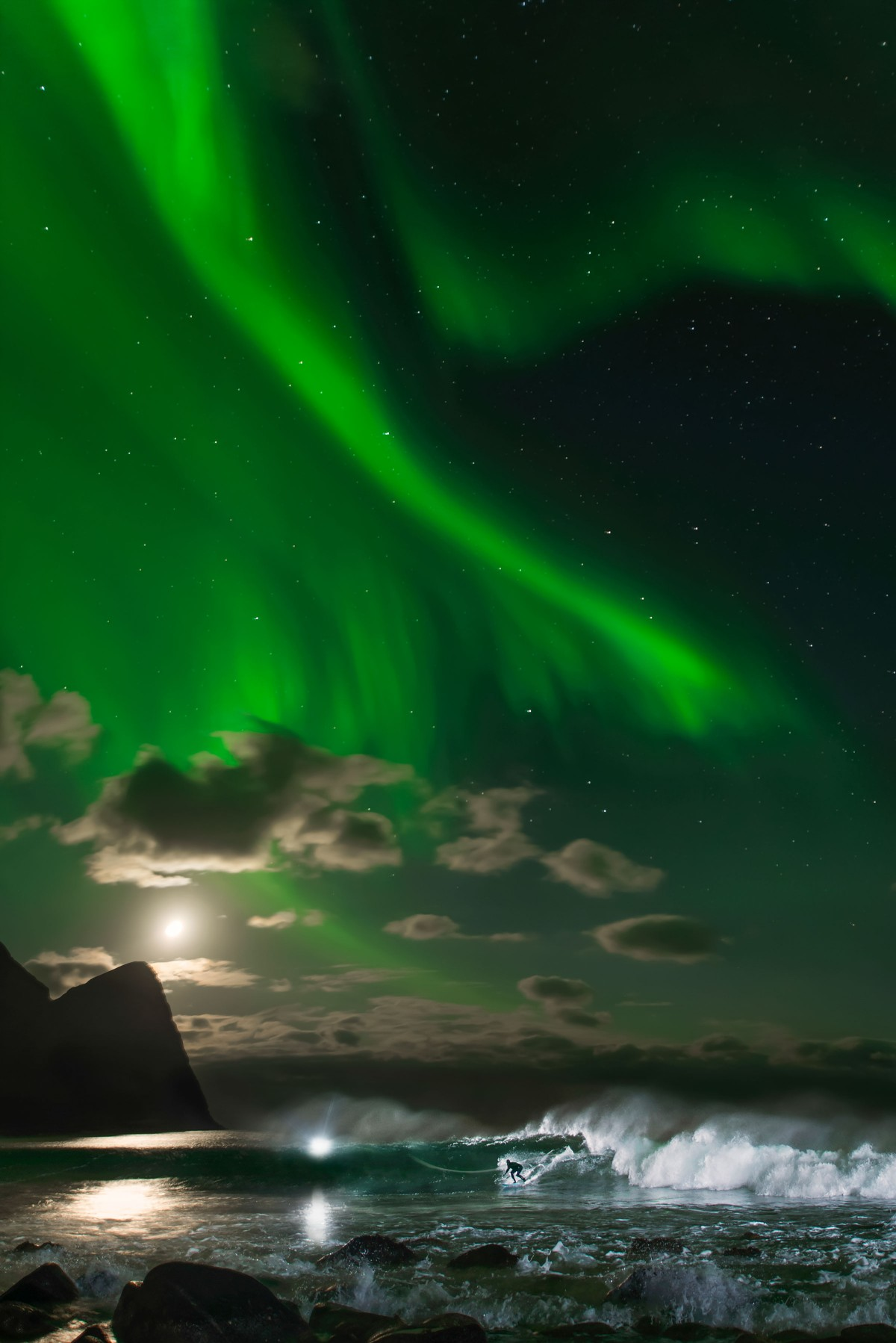 This is one of the most technical shots I've ever done!-Emil Sollie - The shoot took place in Lofoten, a far flung speck of a town on Norway's smashed plate of a coastline.The surf is consistent and the place is renowned for its outstanding aurora borealis.