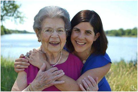 Helen Crowley Anstead at 100 with her granddaughter Kate Hillman Urek