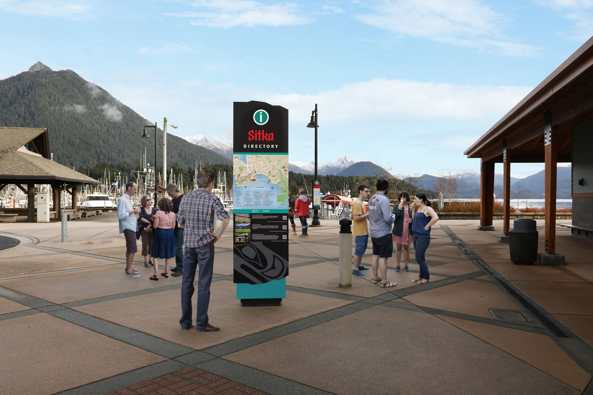 For the town of Sitka in Alaska powder coated graphics formed the complete façade of the map and interpretive kiosk design by Axia.