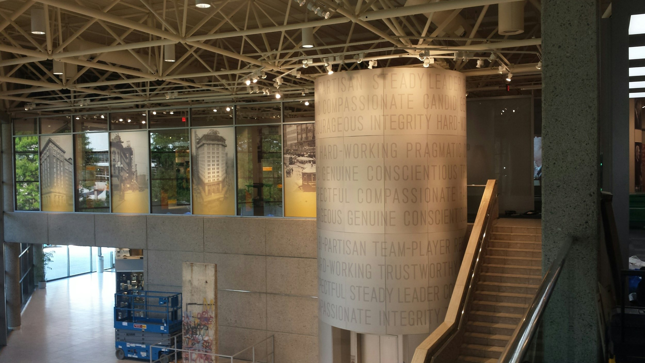 Gerald Ford Museum Curved Elevator Silo Façade designed by Gallagher Associates