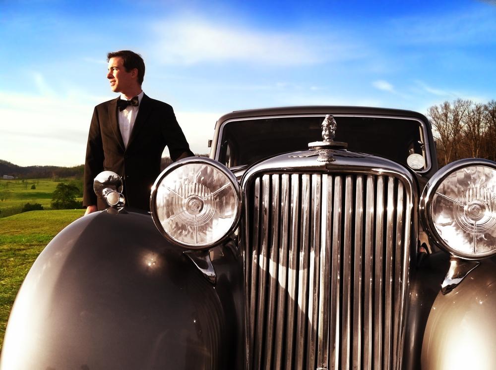 Jaguar Vintage Limousine Get Away Antique Charlottesville Wedding.jpeg