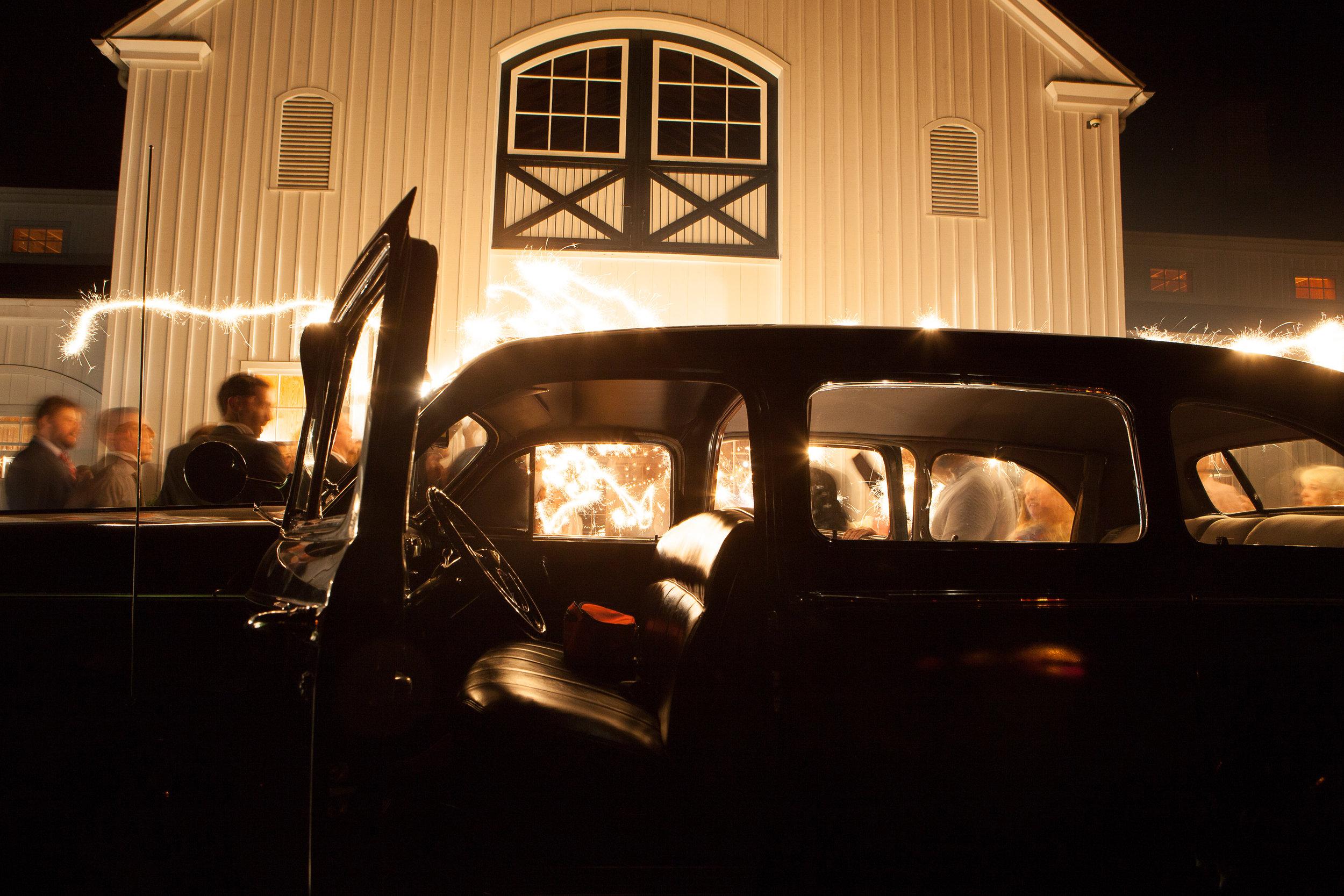 Vintage Limousine Wedding Get Away Charlottesville Wedding car