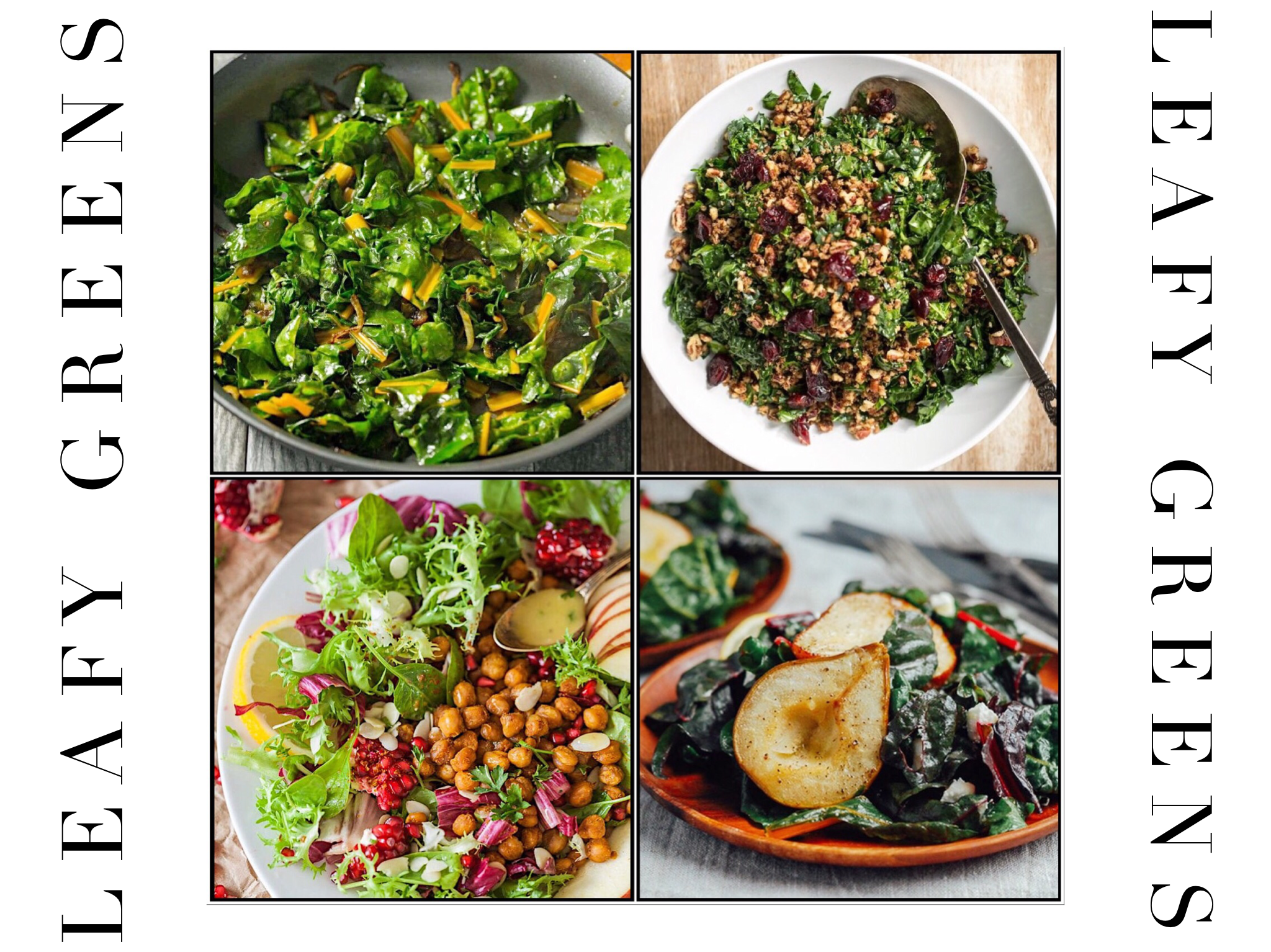 Leafy Greens - Your loving lettuce may not disappear from your grocery store all year long, it's a summer vegetable; and although I won't ask you to give up on it, I'd suggest you to keep your mind open to options such as spinach, kale, escarole, and chard.