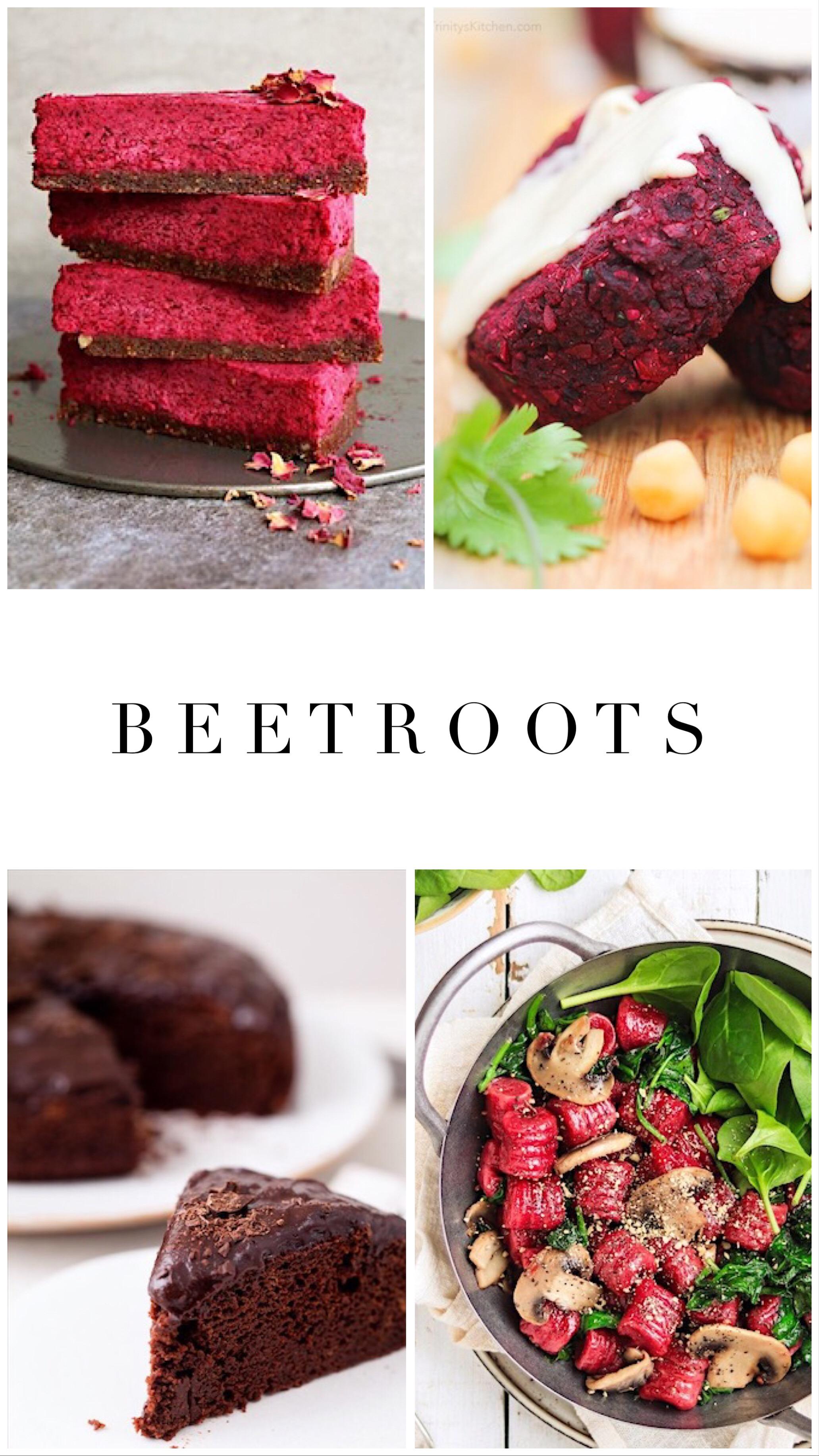 1.    Raw beetroot cake   , 2.    Beetroot falafels   , 3.    Chocolate beetroot cake   , 4.    Beetroot gnocchis