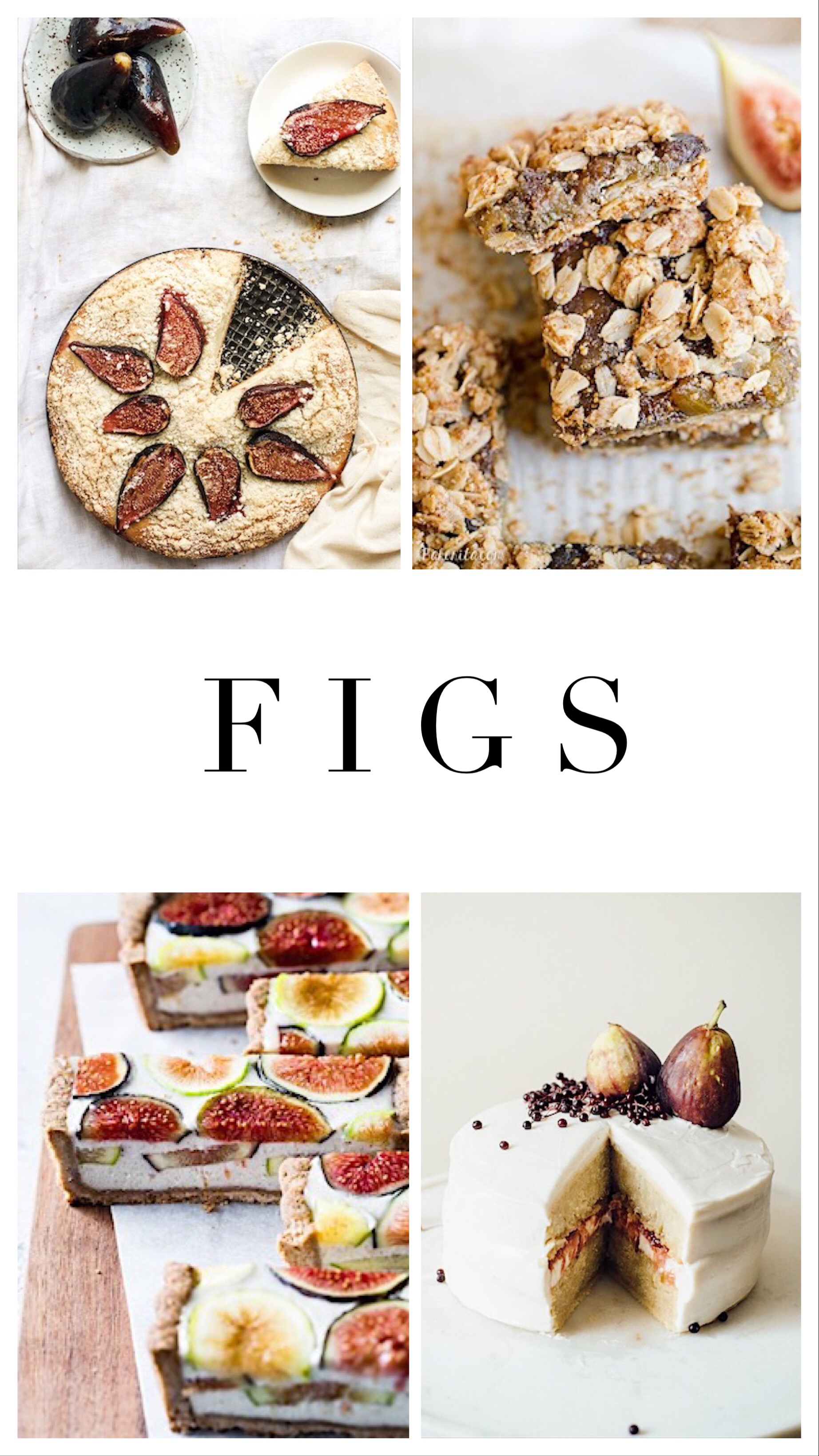 1.    Cardamom and fig cake   , 2.    Oatmeal fig bars   , 3.    Ginger fig tart with chestnut crust   , 4.    Hazelnut biscuit with fig compote