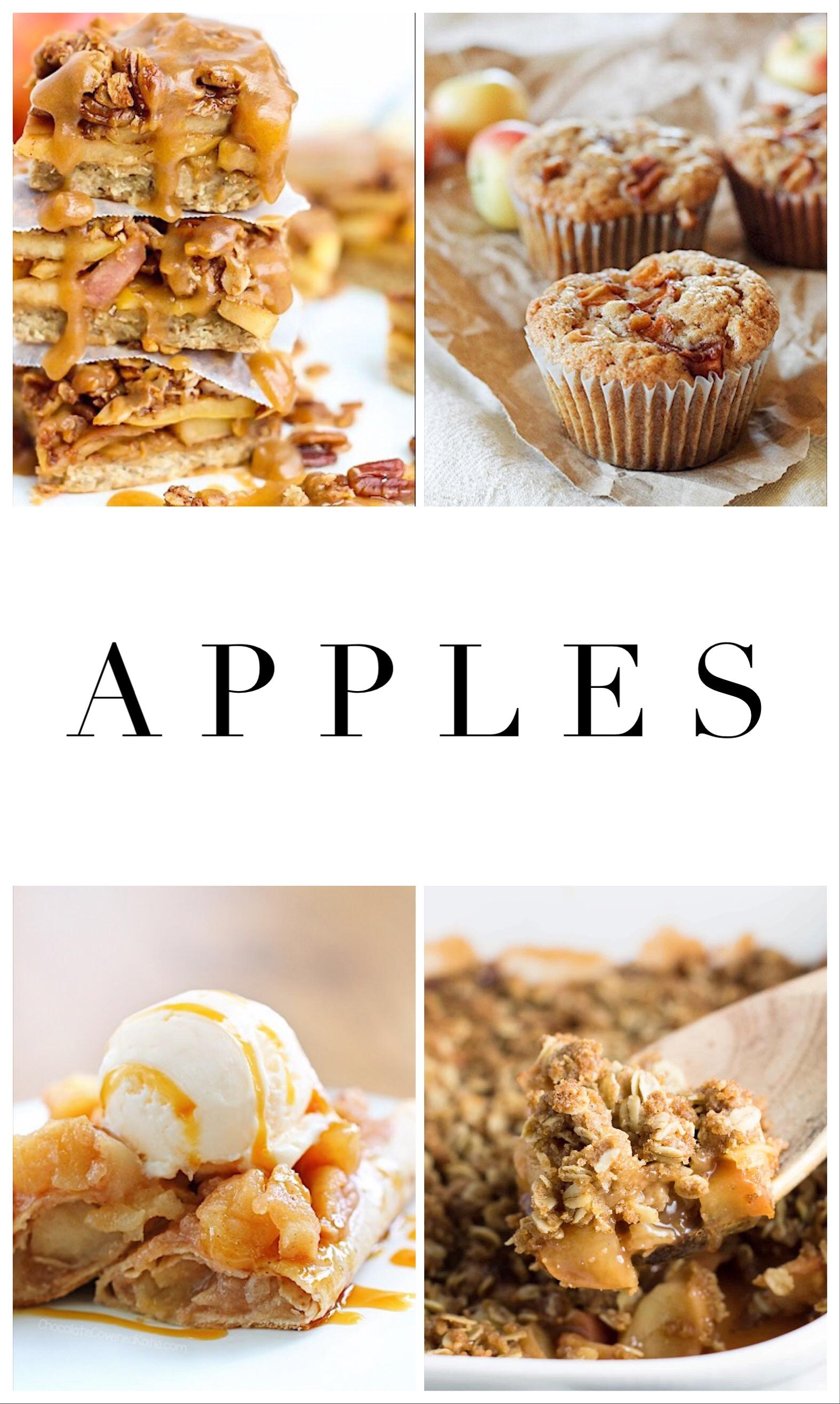 1.    Apple pie bars   , 2.    Apple oatmeal muffins   , 3.    Apple enchiladas   , 4.    Apple crisp