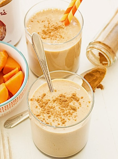 Sweet potato & almond butter smoothie - by Spoonful of Flavor