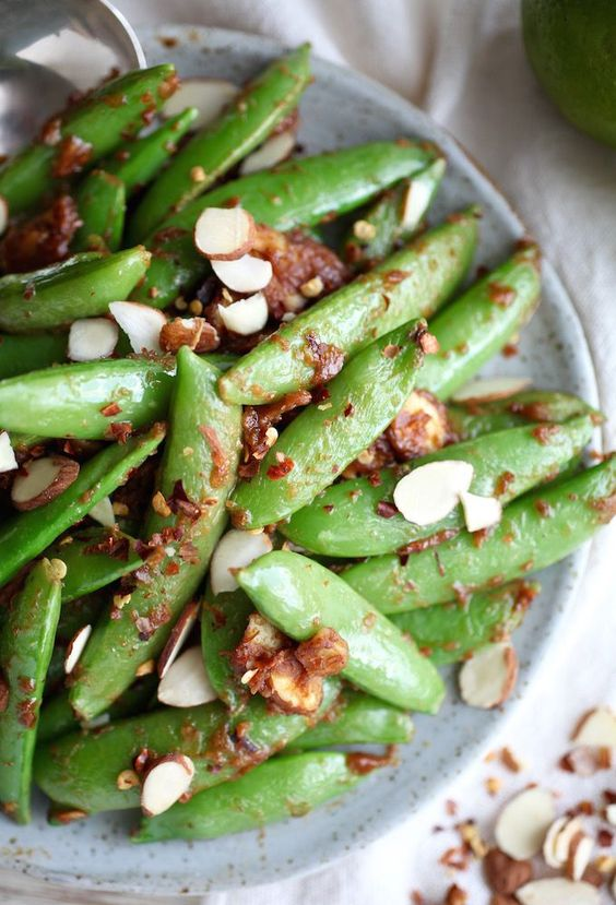 Sweet & Salty Almond Butter Snap Peas by Health Club Recipes