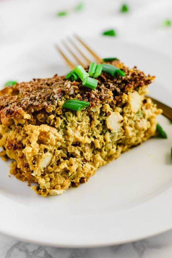 Cheesy Chickpea, Quinoa & Broccoli Casserole by Yummly