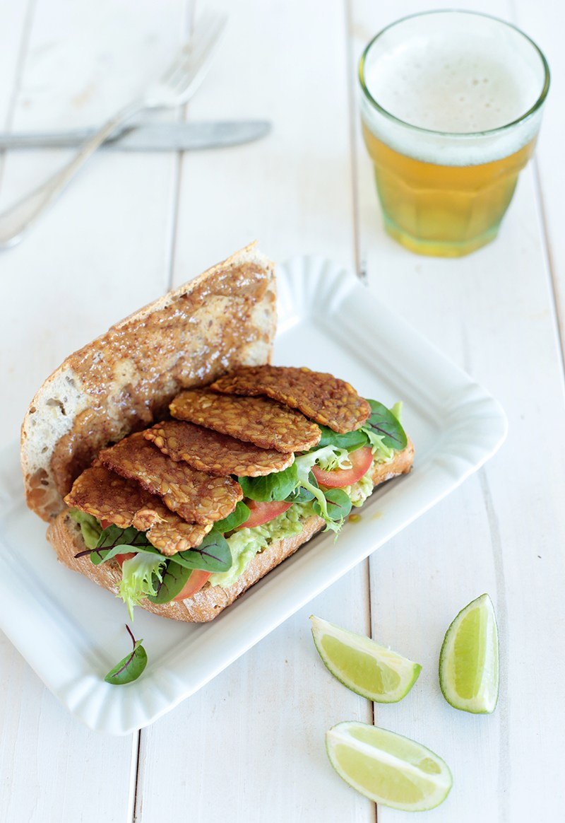 Avocado and Marple Glazed Tempeh Sandwich by Green Evi