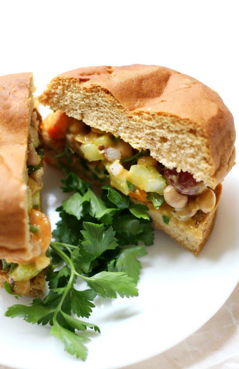Curried Black Eyed Pea Salad Sandwiches (Gluten-Free, Vegan)