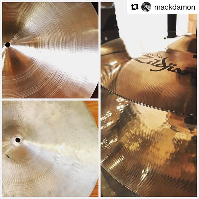 "We have a pretty amazing selection of cymbals at the studio!  #Repost @mackdamon ・・・ I have a really nice cymbal collection I've curated over the years (24 cymbals) and today our intern Jack cleaned, polished and high speed buffed them to glorious perfection.  They look amazing and blind you with every crash and ping.  If you're one of those ""the tarnish makes them sound warmer"" types, you can see your butt to the door and don't bother leaving a comment, because you're wrong.  I want them to sound like they did when they were new...even my early 70's 15"" Avedis hats.  #studiolife #recordproducer #drums #cymbals #zildjian #sabian #paiste #igotsdrums #mackdamon"