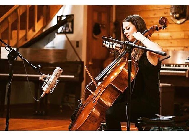Thanks to @warmaudio and @robbymusic100 for snapping this pic of @megswisher during our session today with @kayleyhillofficial  The new #warmaudio mics sounded fantastic on the cello and vocals.  #cello #strings #recordingstudio #stonecreeksound #recording #studiolife #gearporn