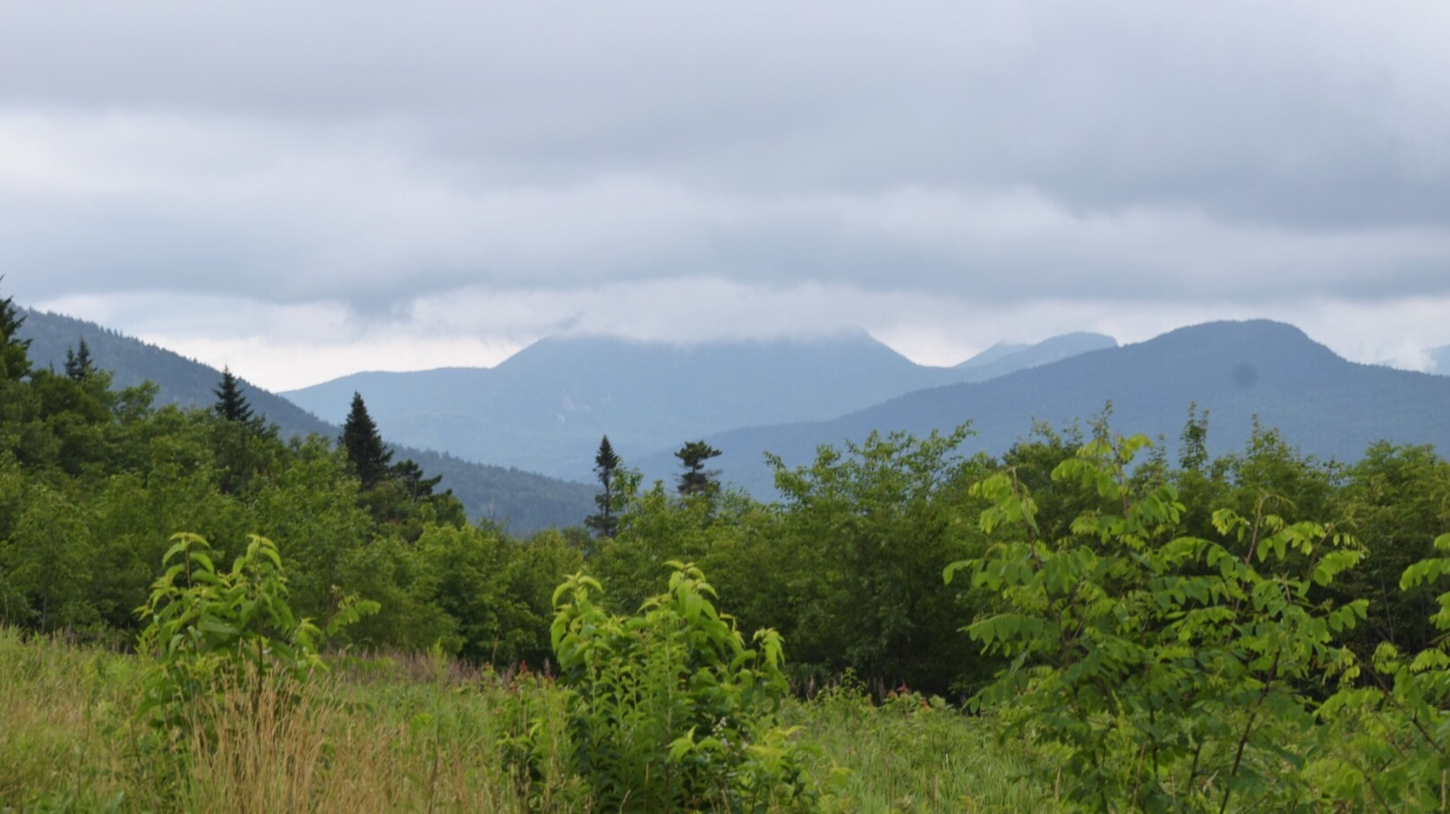 The White Mountains in New Hampshire on a rainy day.