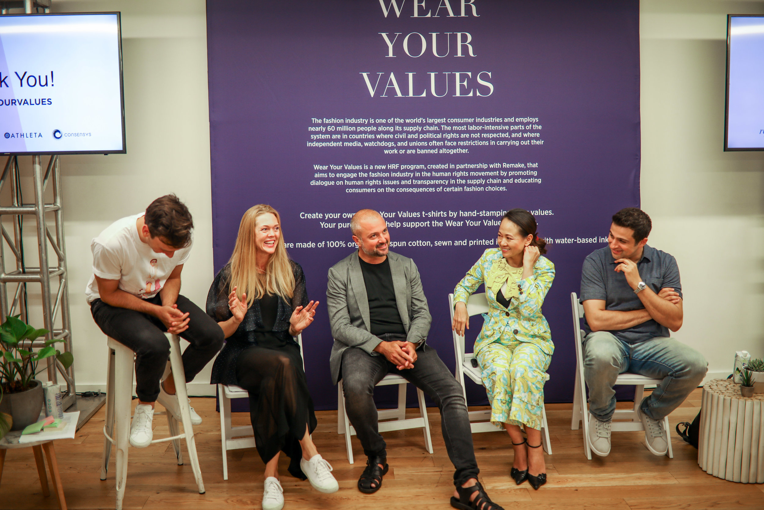 Martine Jarlgaard elaborates on a panel about blockchain and tech featuring Leonardo Bonanni ( SourceMap ), LanVy Nguyen ( Fashion 4 Freedom ), Mounir Ibrahim ( True Pic ) and Ben Siegel ( ConsenSys ).