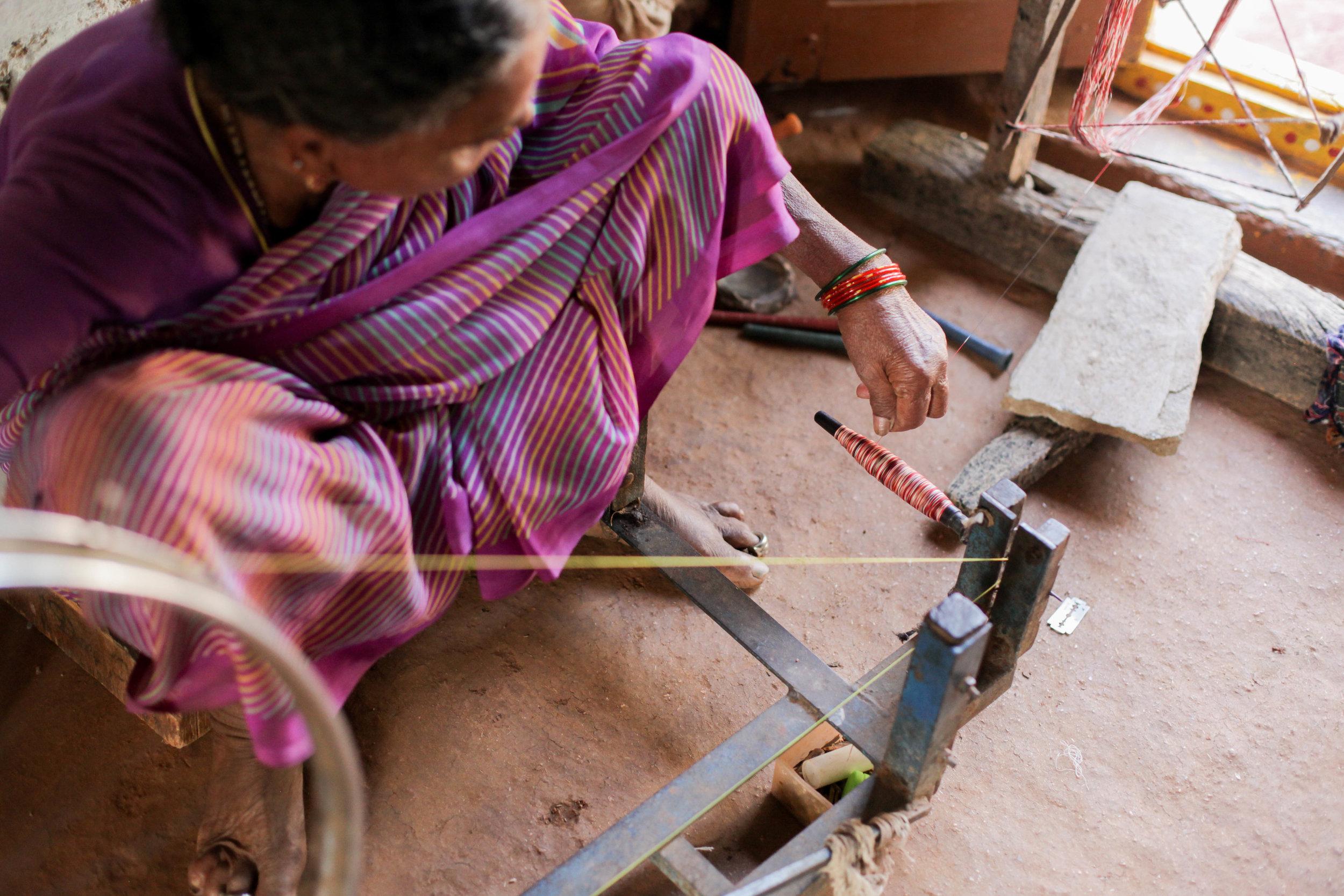 Master ikat weaver in Hyderabad, India.