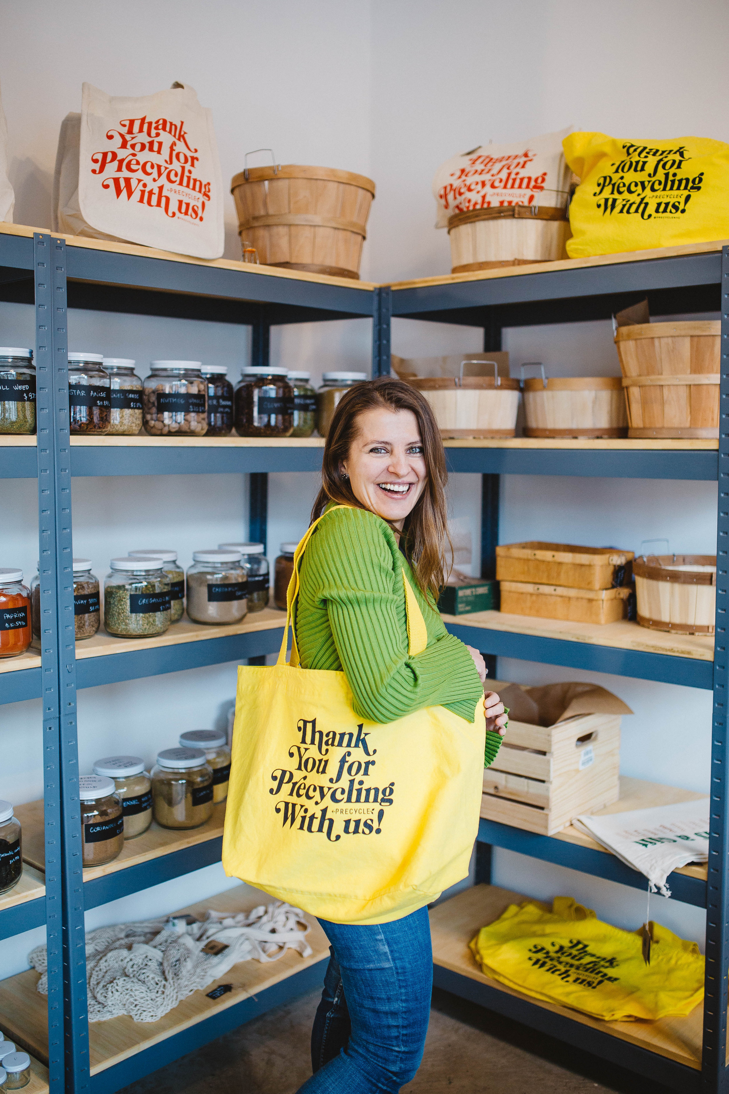 Pictured is Katerina Bogateriva at her Bushwick package free grocery store, Precycle.