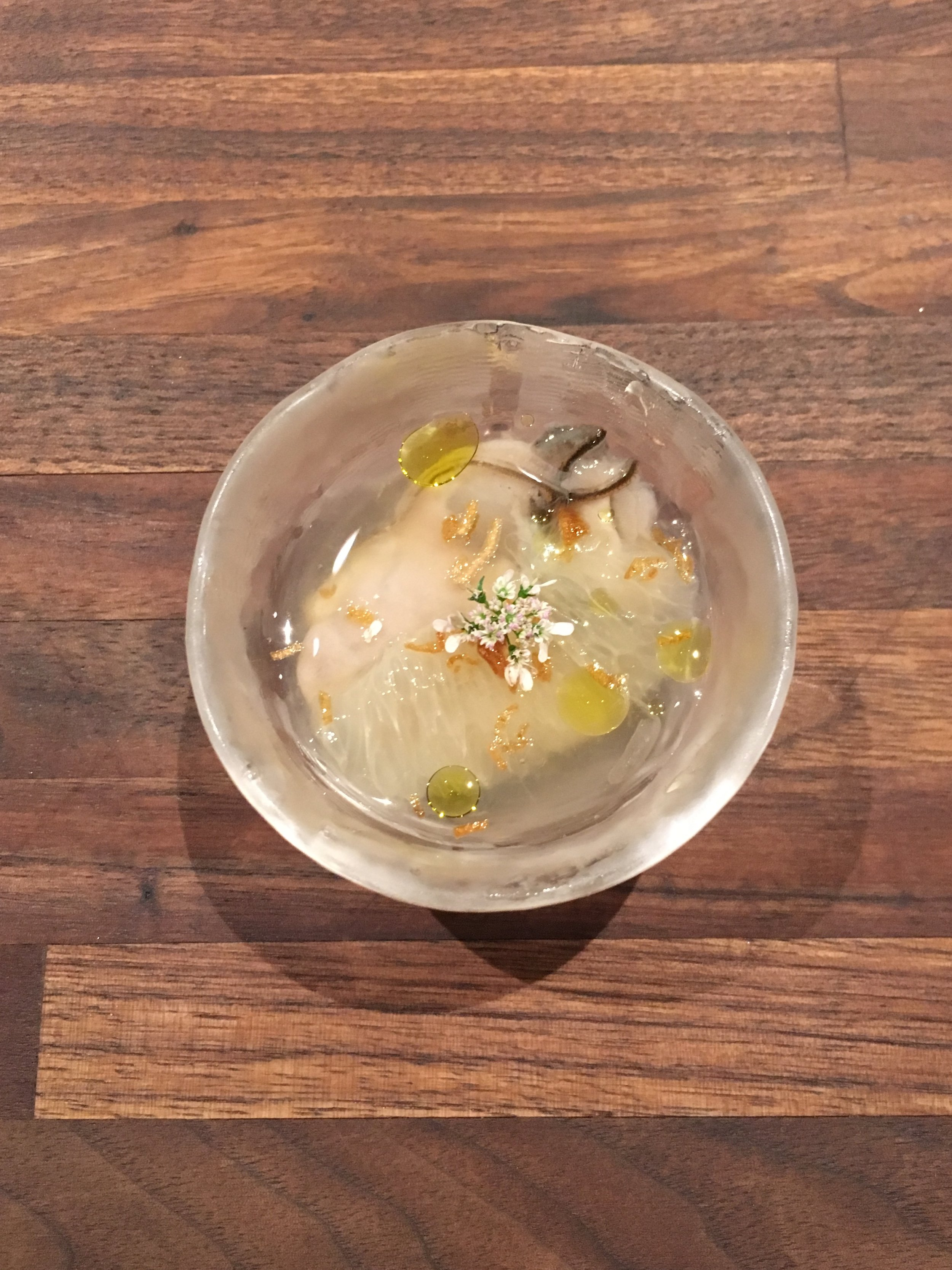 Oyster - grapefruit - coriander flower