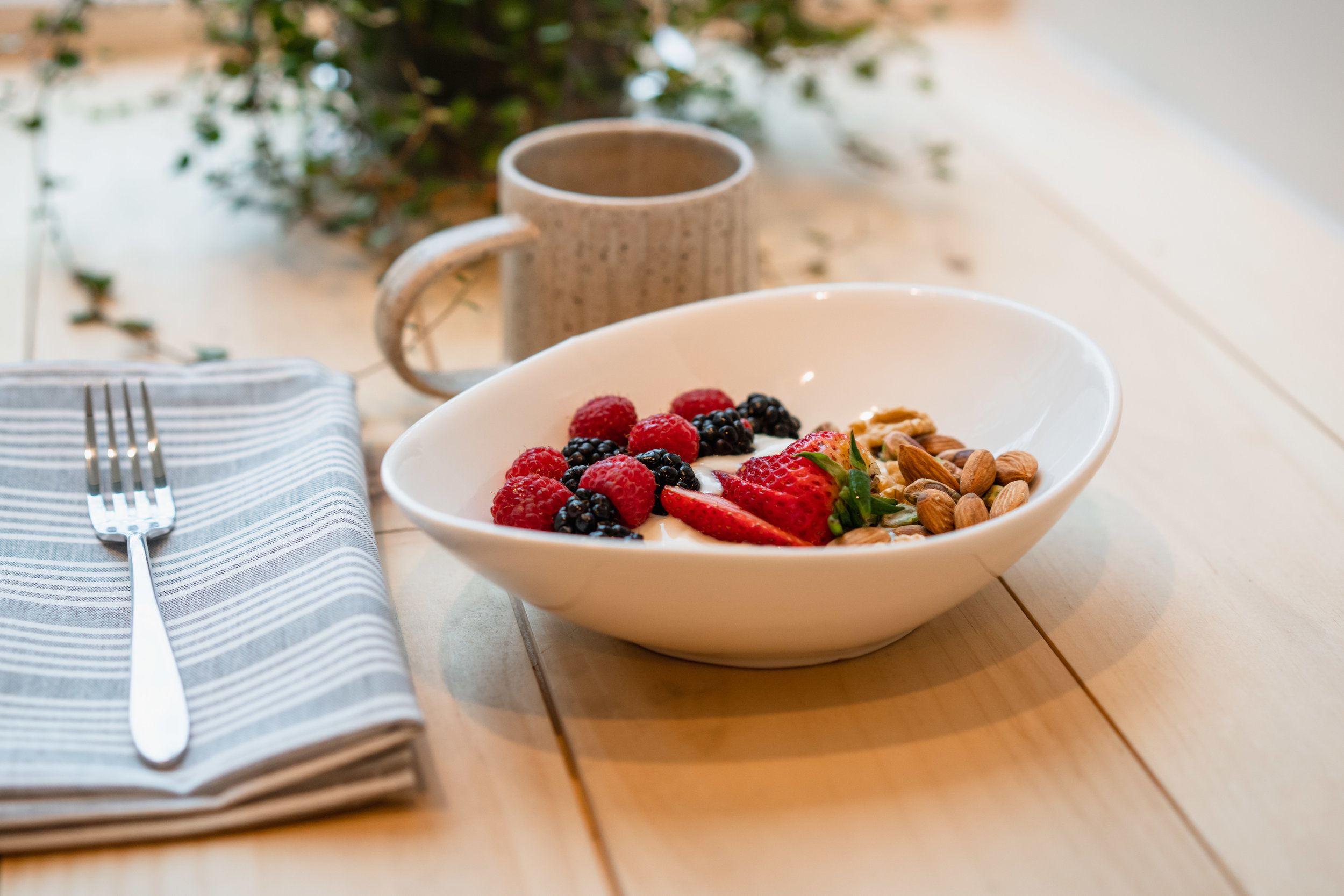 Vegan yogurt, nuts and berries.