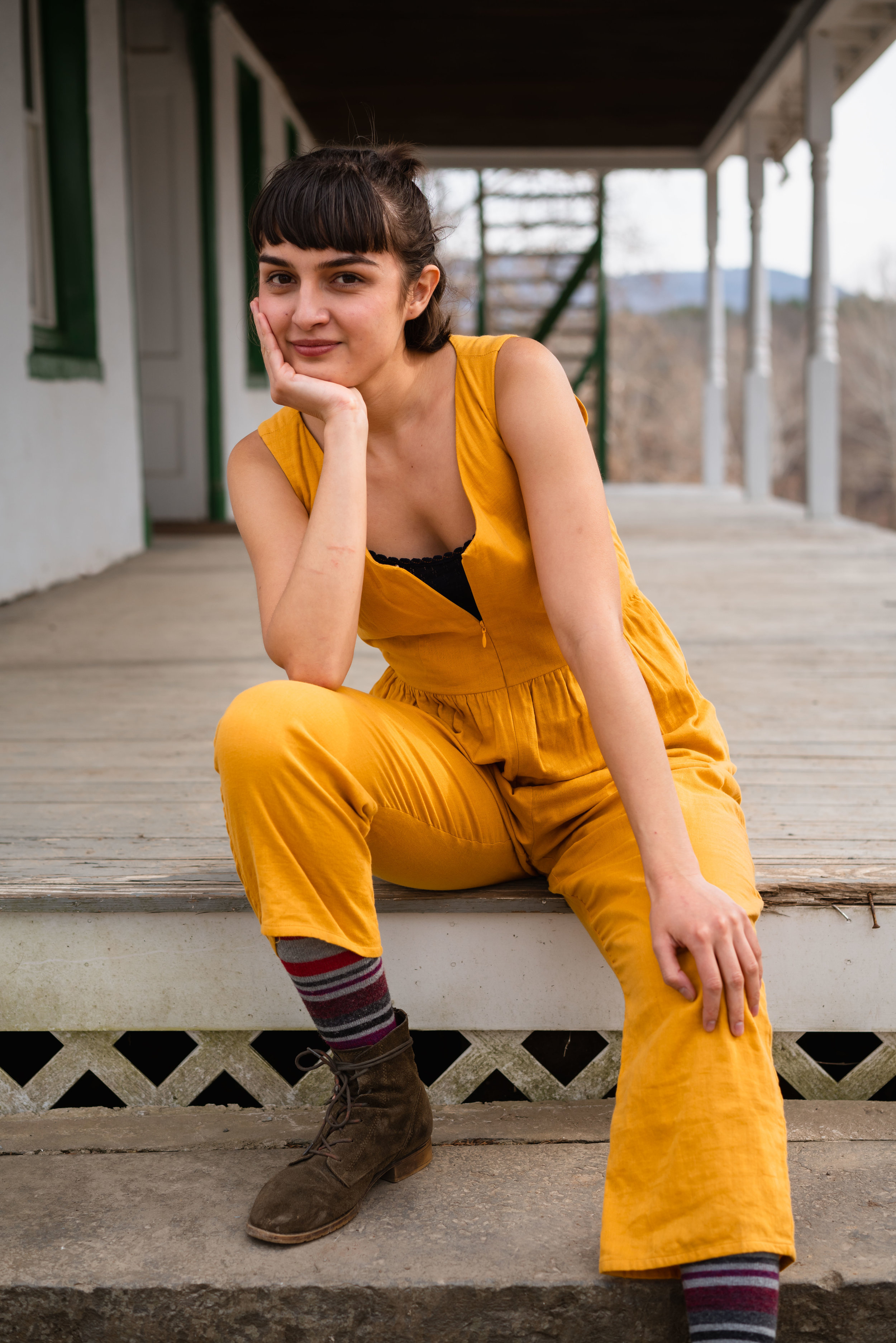SUSTAIN Founder & Editor-in-Chief,  Reza Cristián , wearing a jumpsuit made in NYC by  Loup  and a  Liana  tank top.