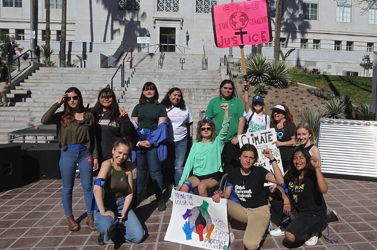 A group photo of some of the LA Youth Climate organizers and strikers.