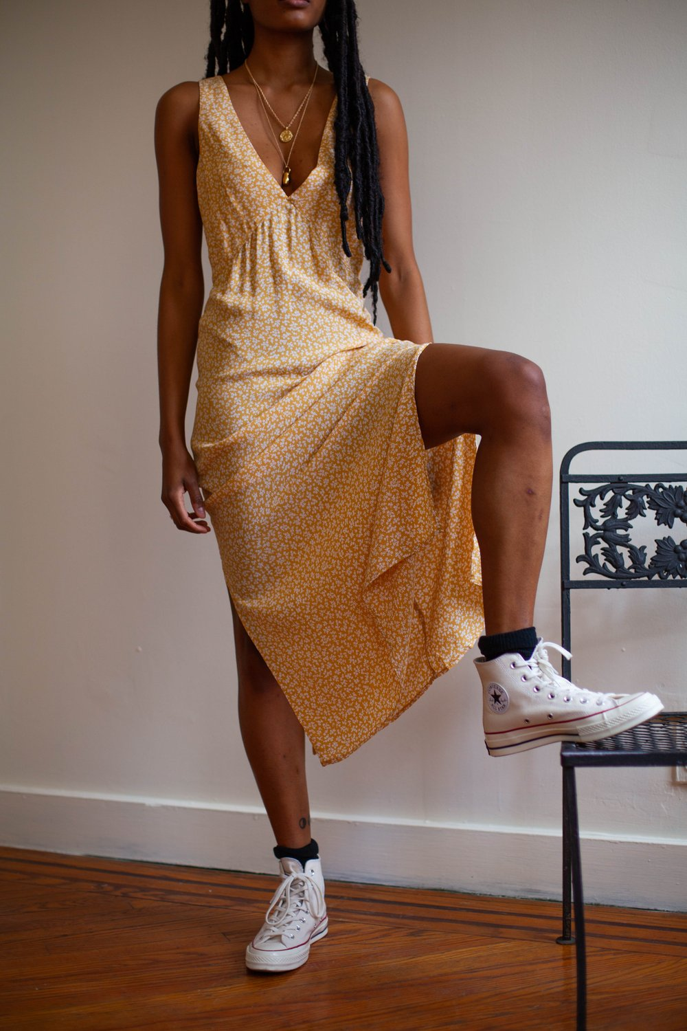 Whimsy + Row's Ella Dress in Gold Floral.