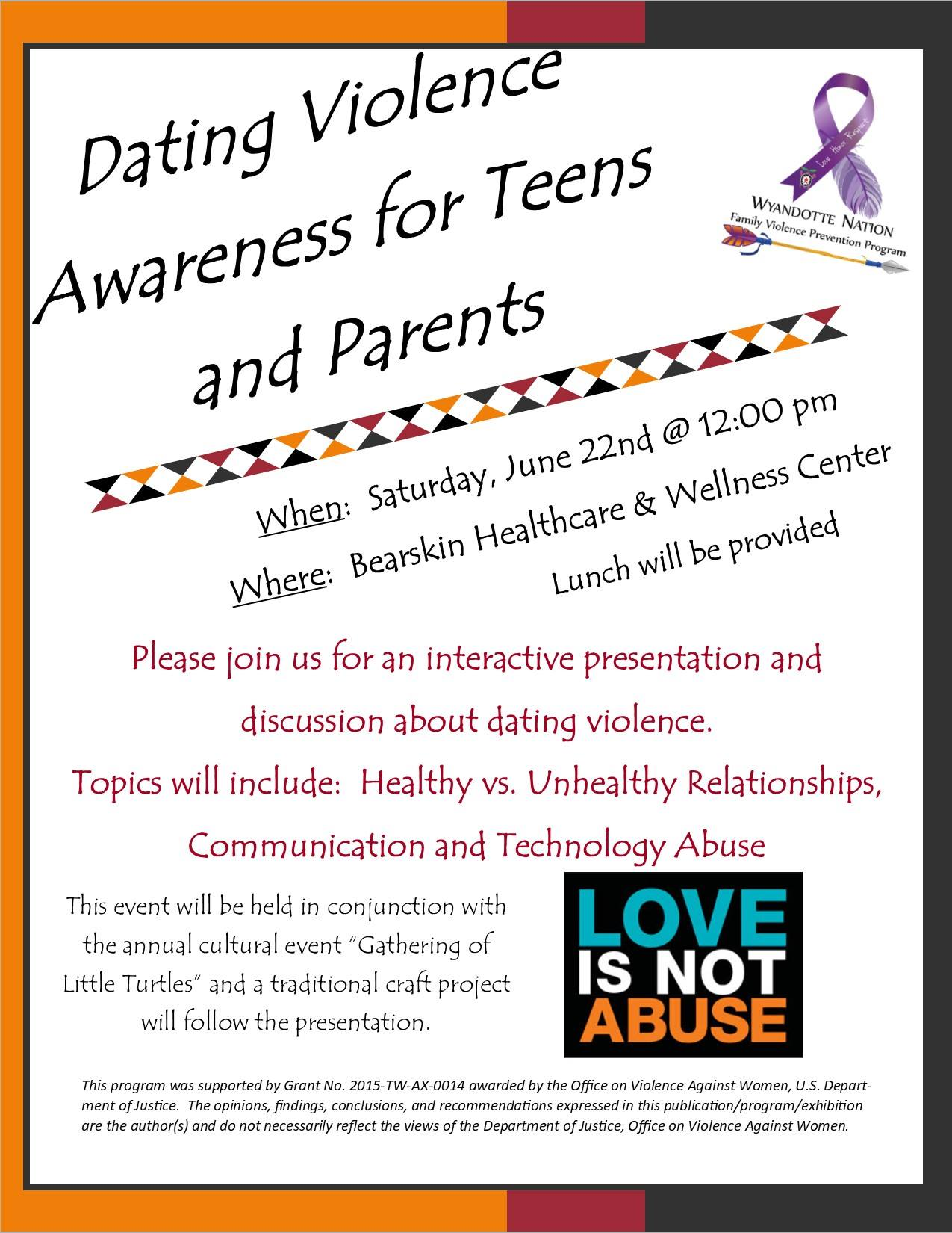 Dating violence awareness for teens and parents Oklahoma Wyandotte