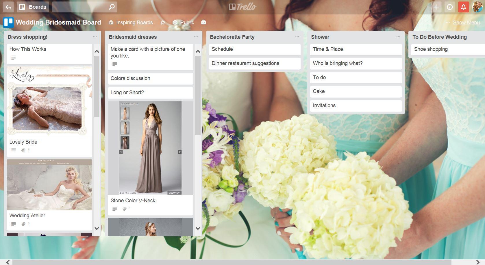 trello bridal party board