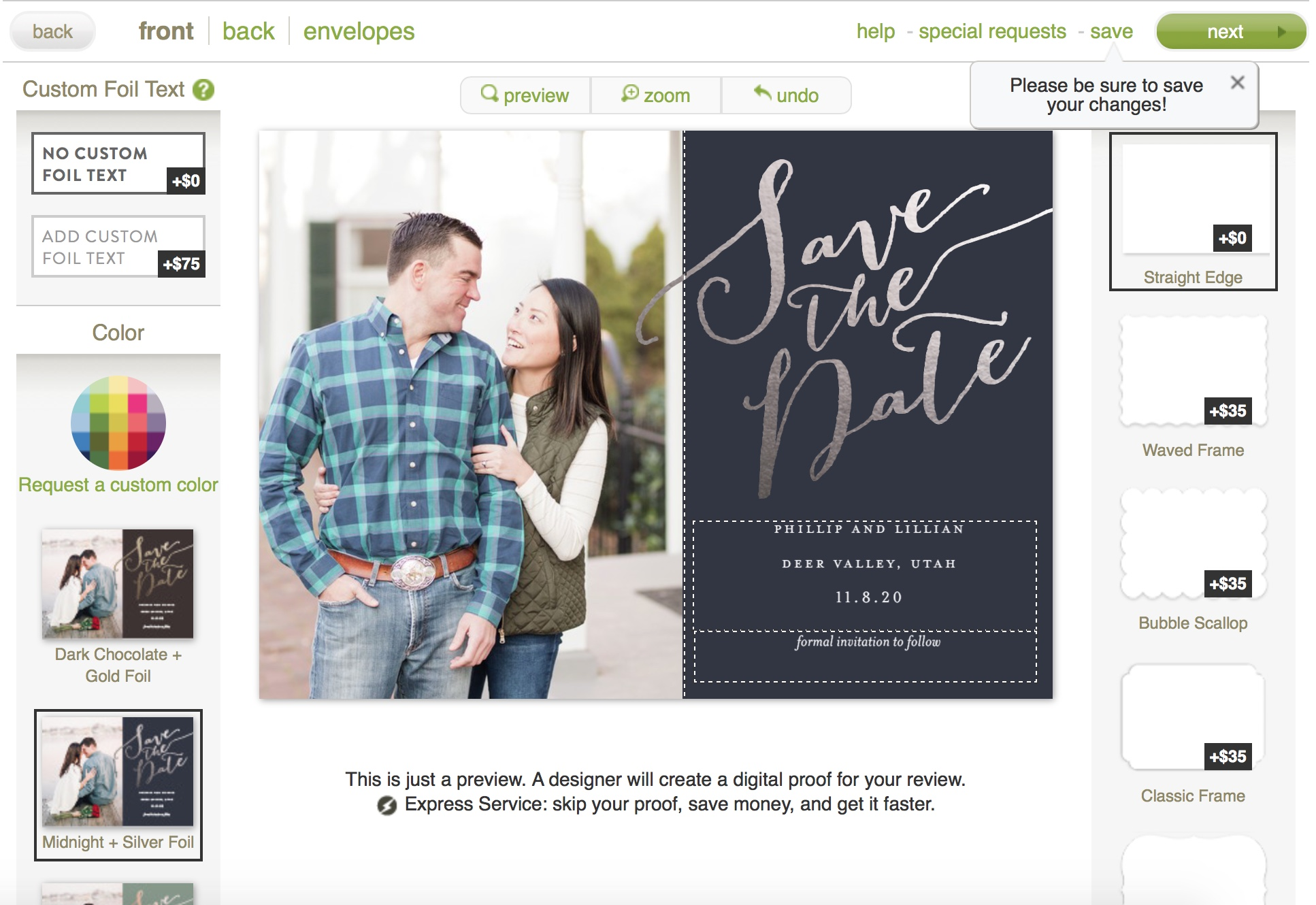 using minted to design a save the date