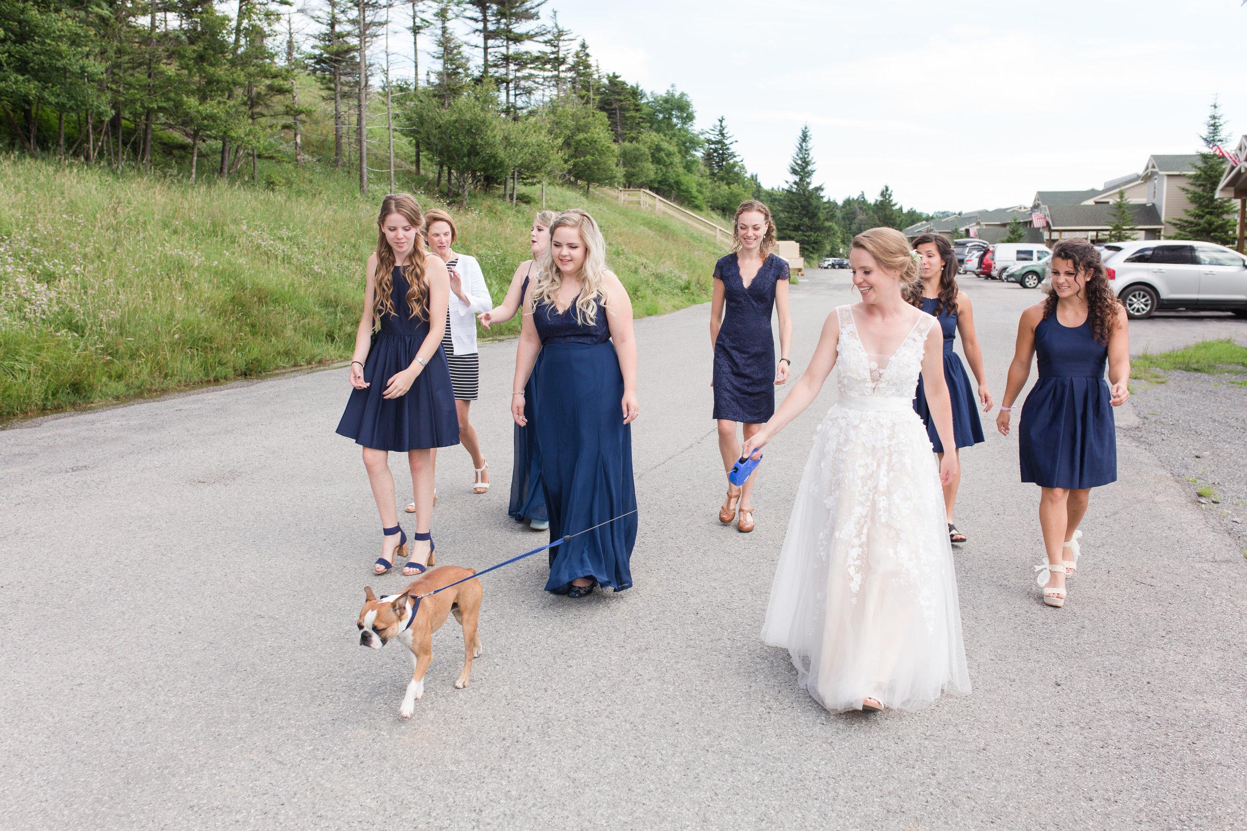 bridal prep time at snowshoe wv, dog walking