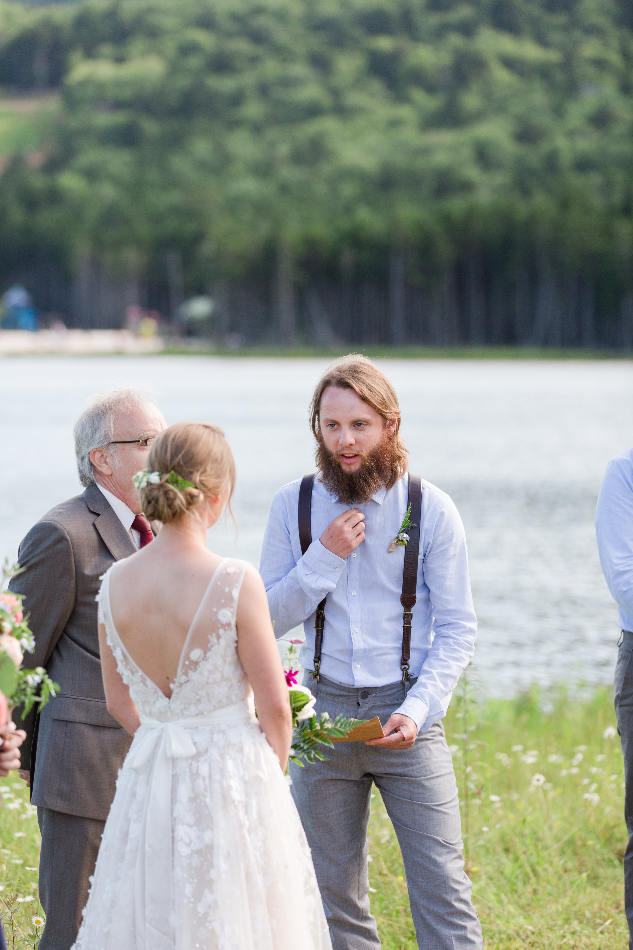 authentic genuine wedding photography in wv - groom's handwritten vows- lakeside mountain wedding wv