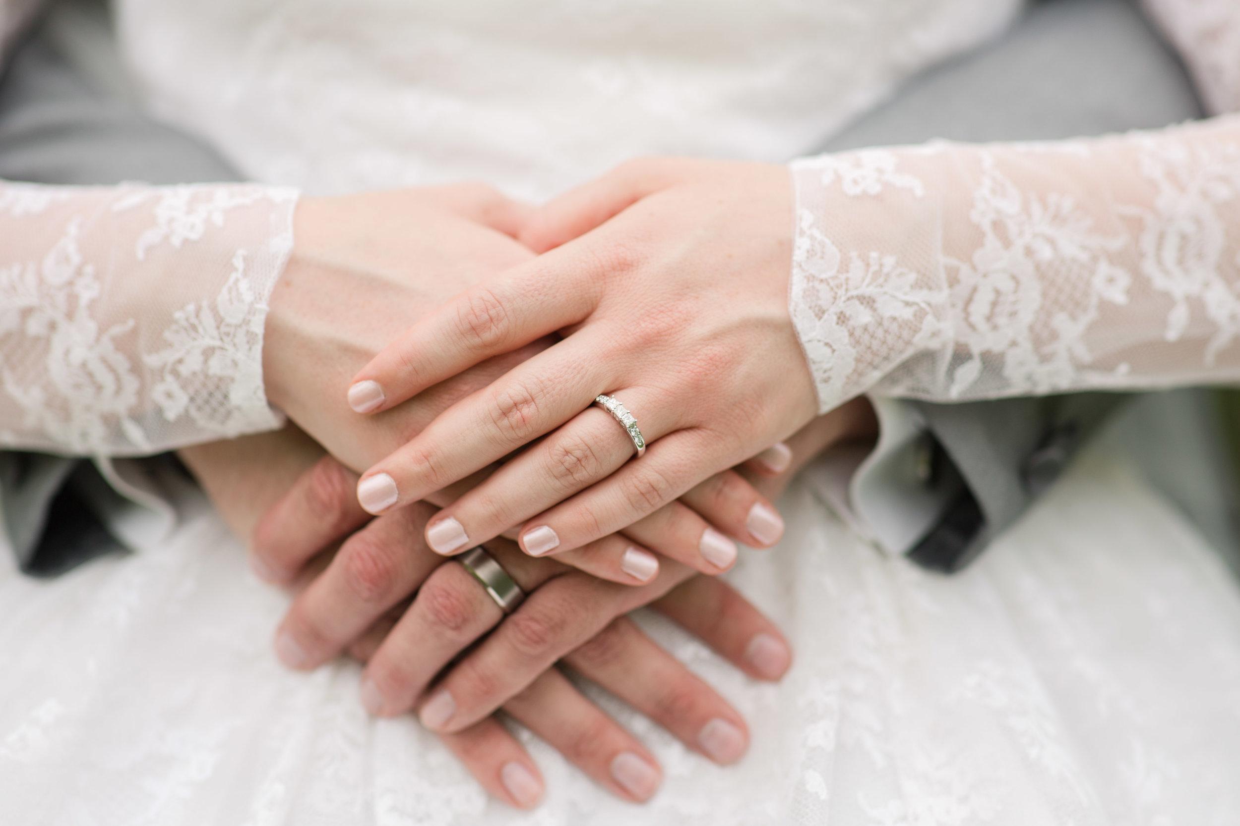 wedding rings on hands