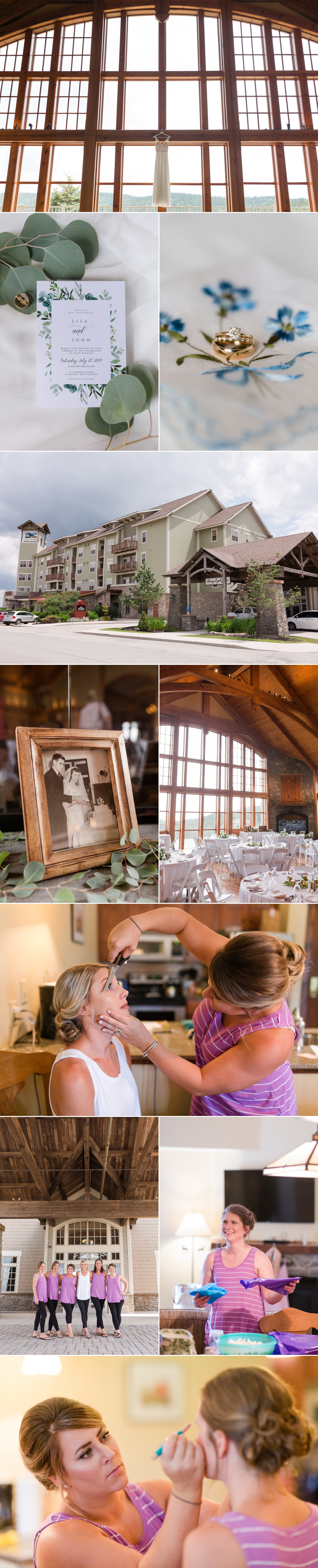 snowshoe resort wedding, preparations collage