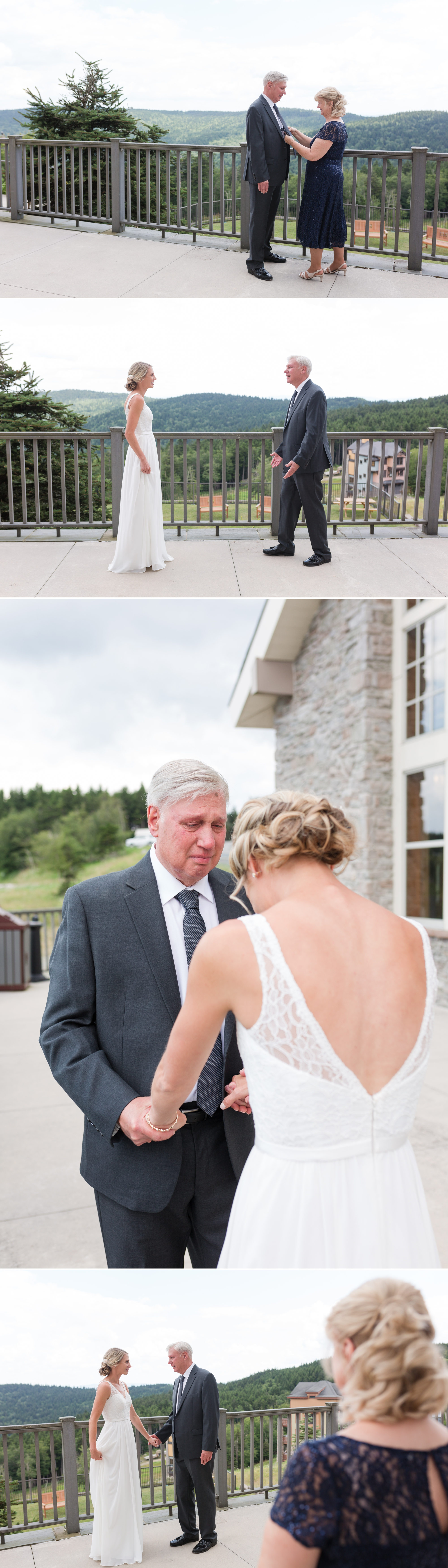 first look with dad, mountain resort wedding