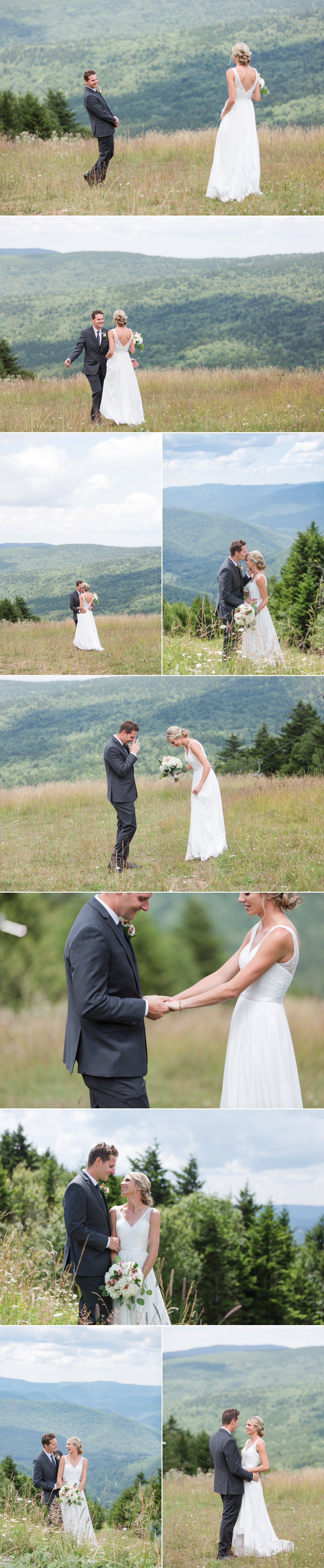 first look on a mountain, snowshoe resort wedding