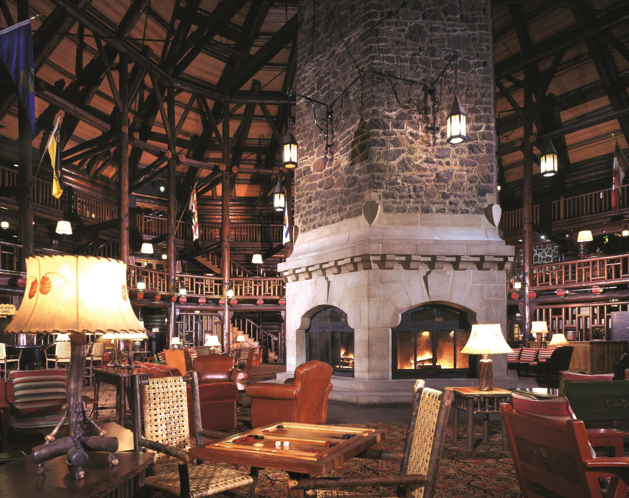 Château Montebello's lobby sends major cozy vibes.  Photo courtesy of Fairmont Hotels & Resorts