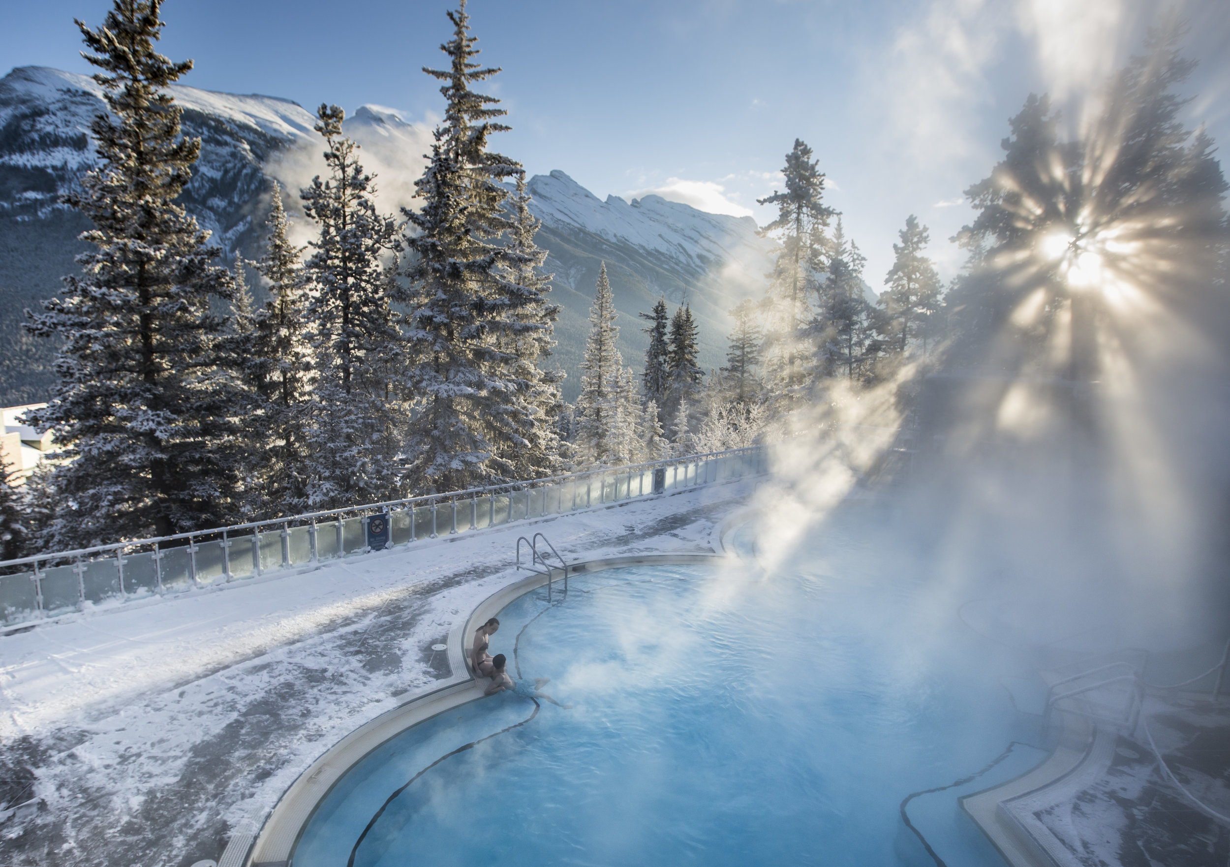 Banff Upper Hot Springs is a postcard-perfect spa getaway.  Photo courtesy of Banff & Lake Louise Tourism / Noel Hendrickson