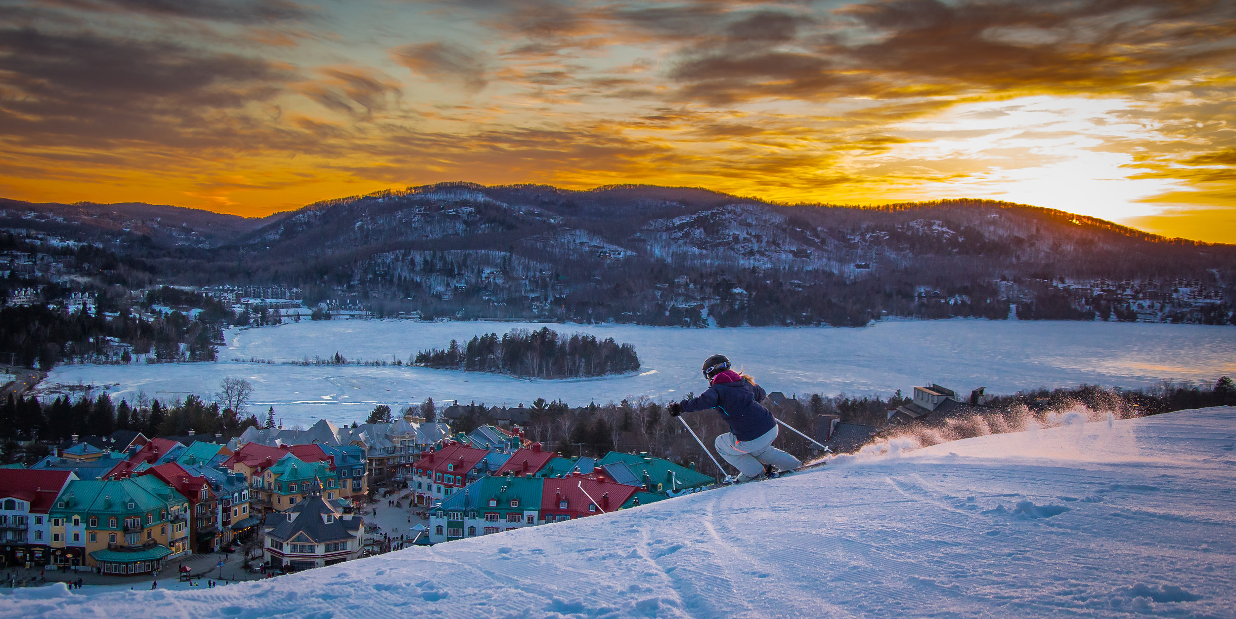 I mean, who doesn't love a scenic view while skiing?  Photo courtesy of Tremblant