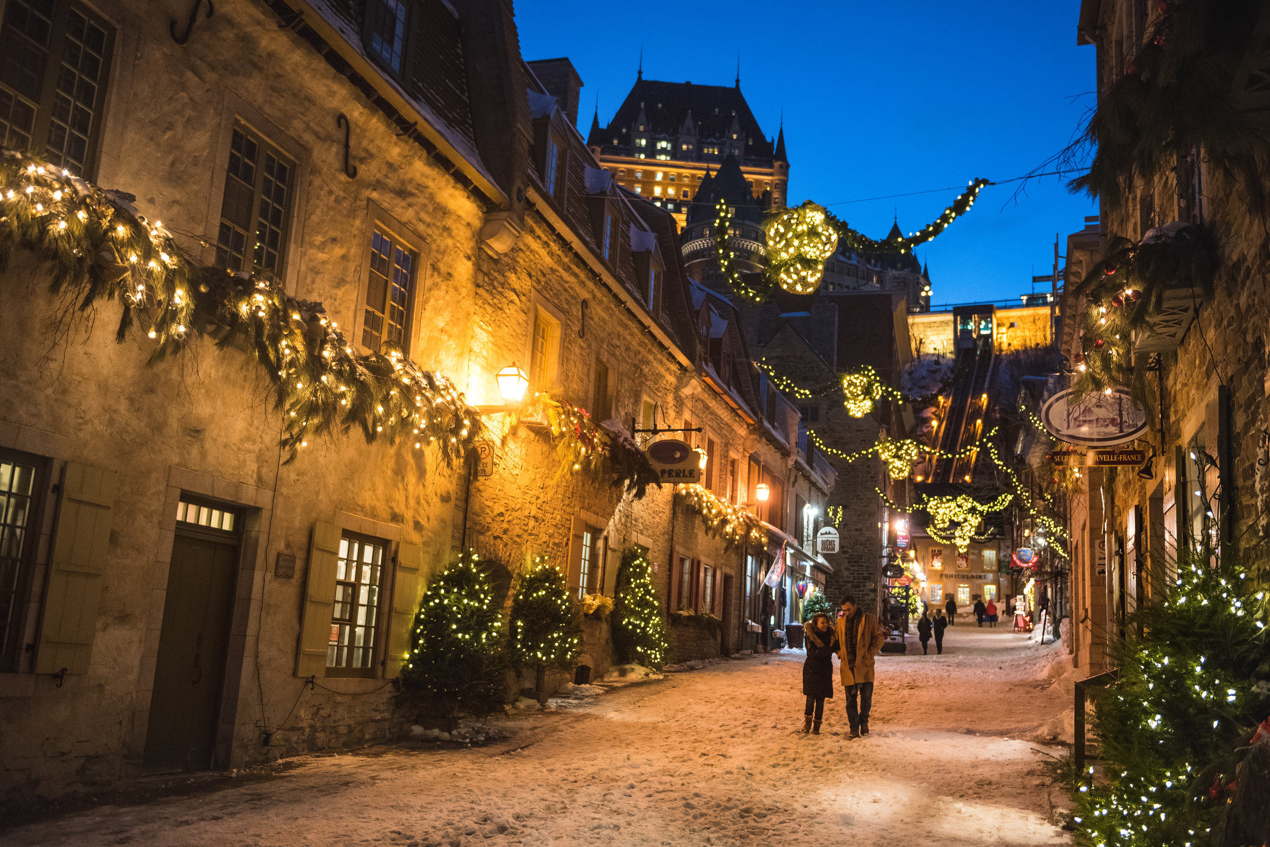 Old Quebec's Quartier Petit-Champlain, the oldest commercial district in North America, is especially romantic during the winter season.  Photo by Francis Gagnon