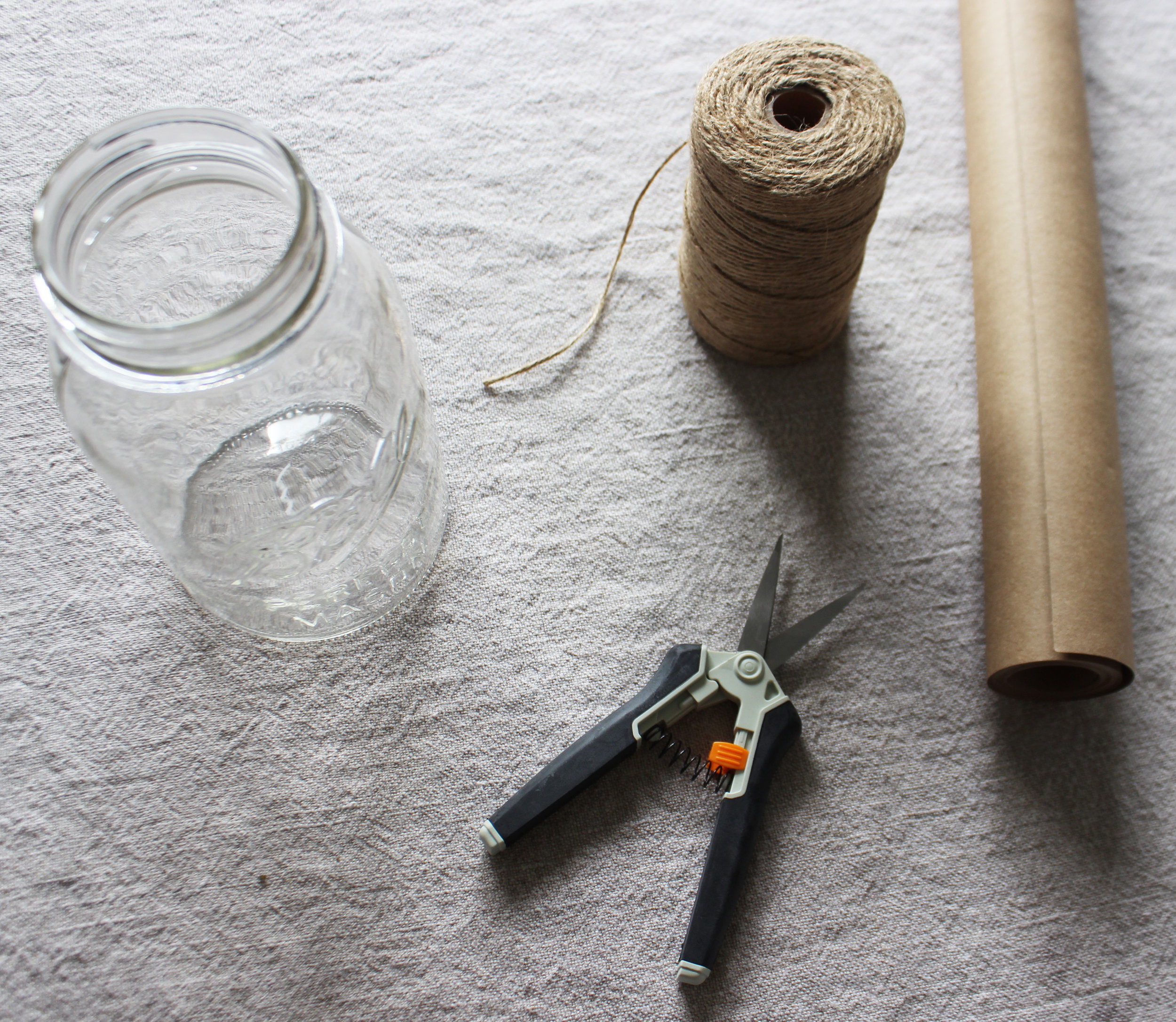 You don't need many supplies but you will need snips (scissors or knife will do in a pinch), brown kraft paper and twine (if gifting) or a receptacle (tall vase, mason jar, pitcher). I collect bottles and jars so I just used a medium sized mason jar that I already had.