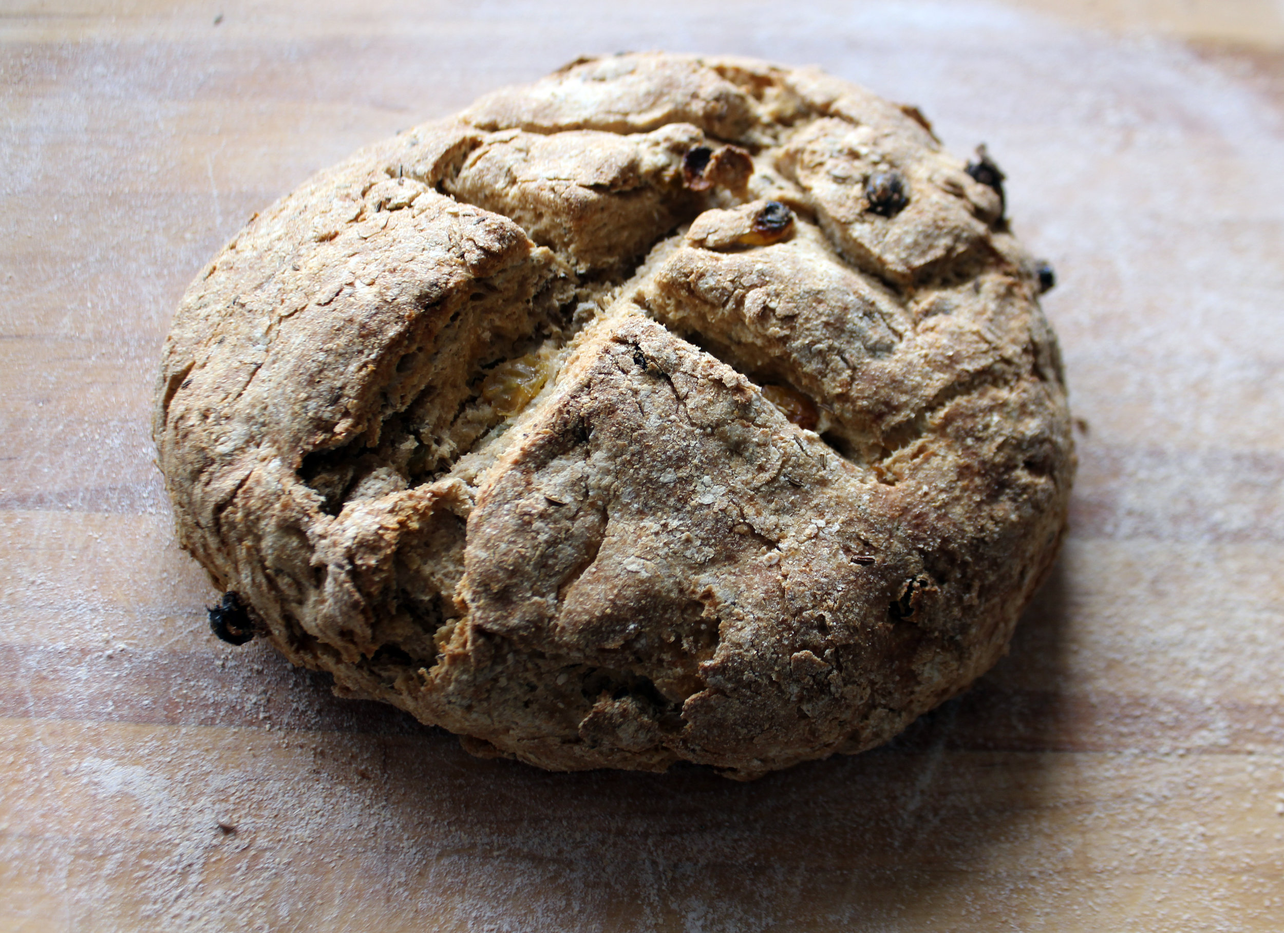 Irish Soda Bread recipe  here . We added raisins and caraway seeds. Serve with Kerrygold!
