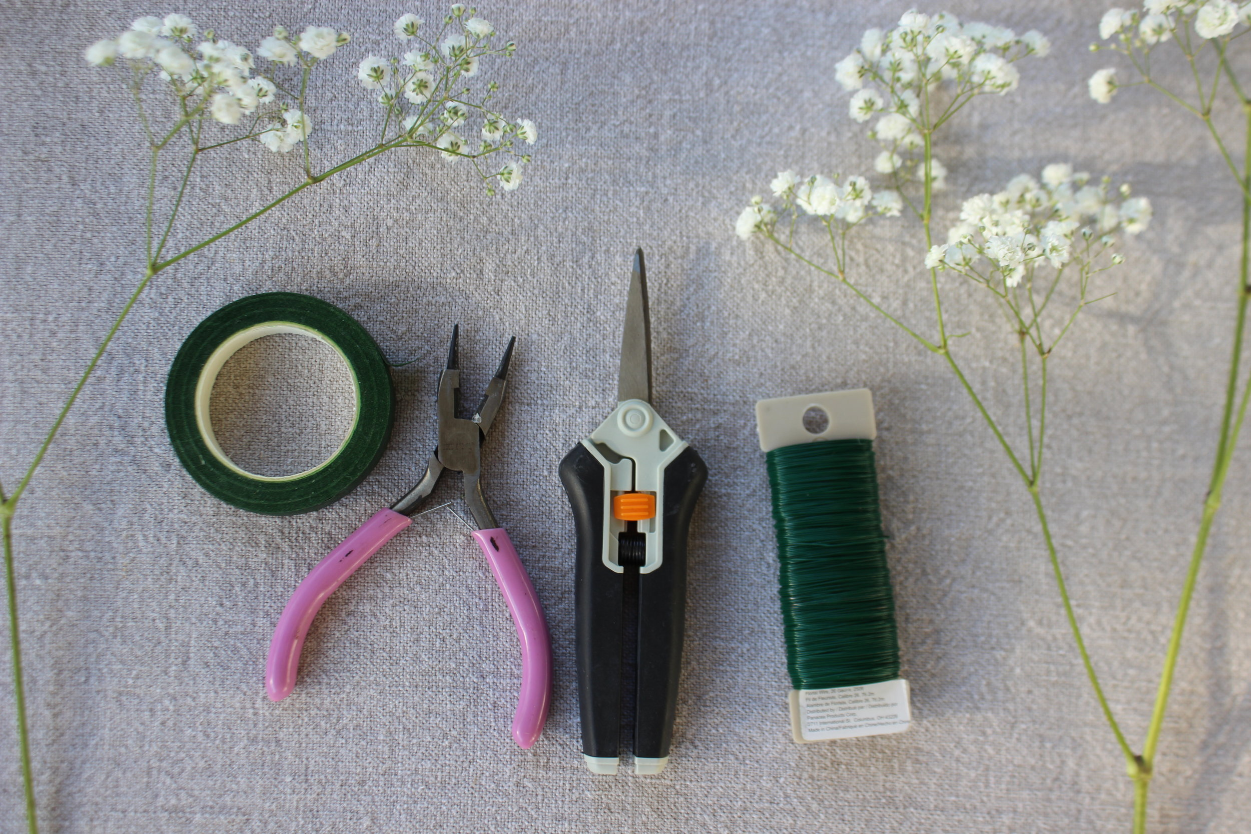 You'll need:   bunch of baby's breath     1/2 inch floral tape      floral wire     wire snips    floral snips