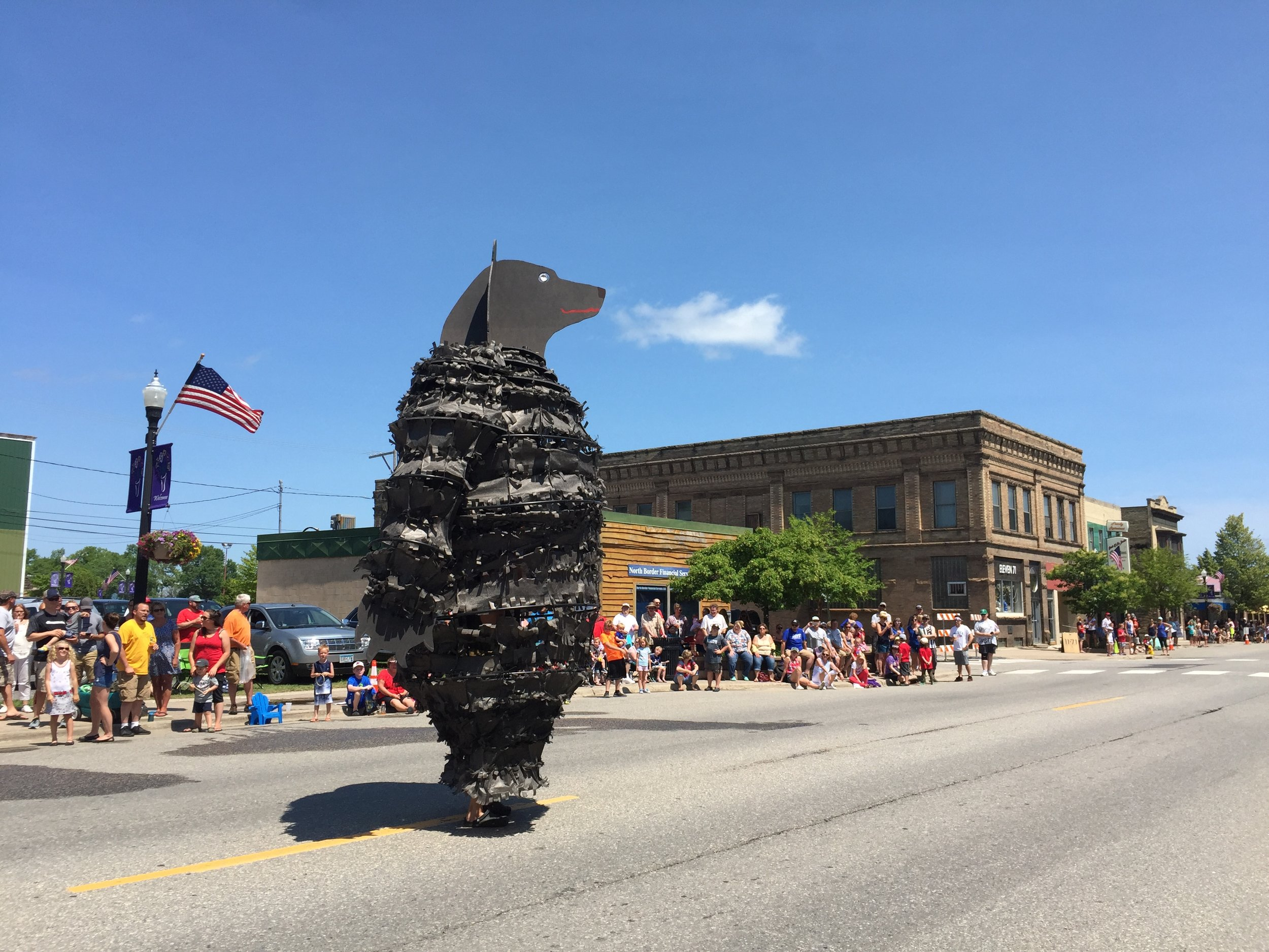 Black Bear, July 4th parade, 2018, International Falls, MN.  Photo by Martha Enzmann