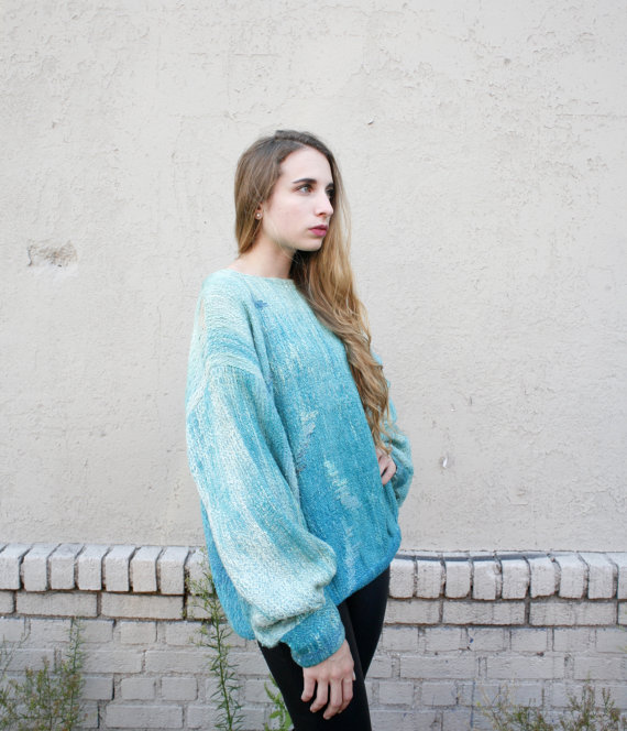 Vintage blue sweater @ Etsy