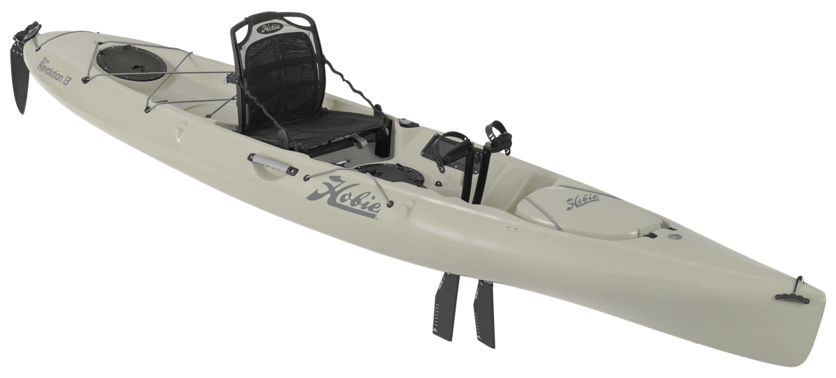 Mirage Revolution 13   The flowing, liquid lines of the Revolution 13 deliver an undeniable message. This is a quick, seaworthy and efficient design that, at 28.5-in. wide, hits the sweet spot for stability minus any slowdown.
