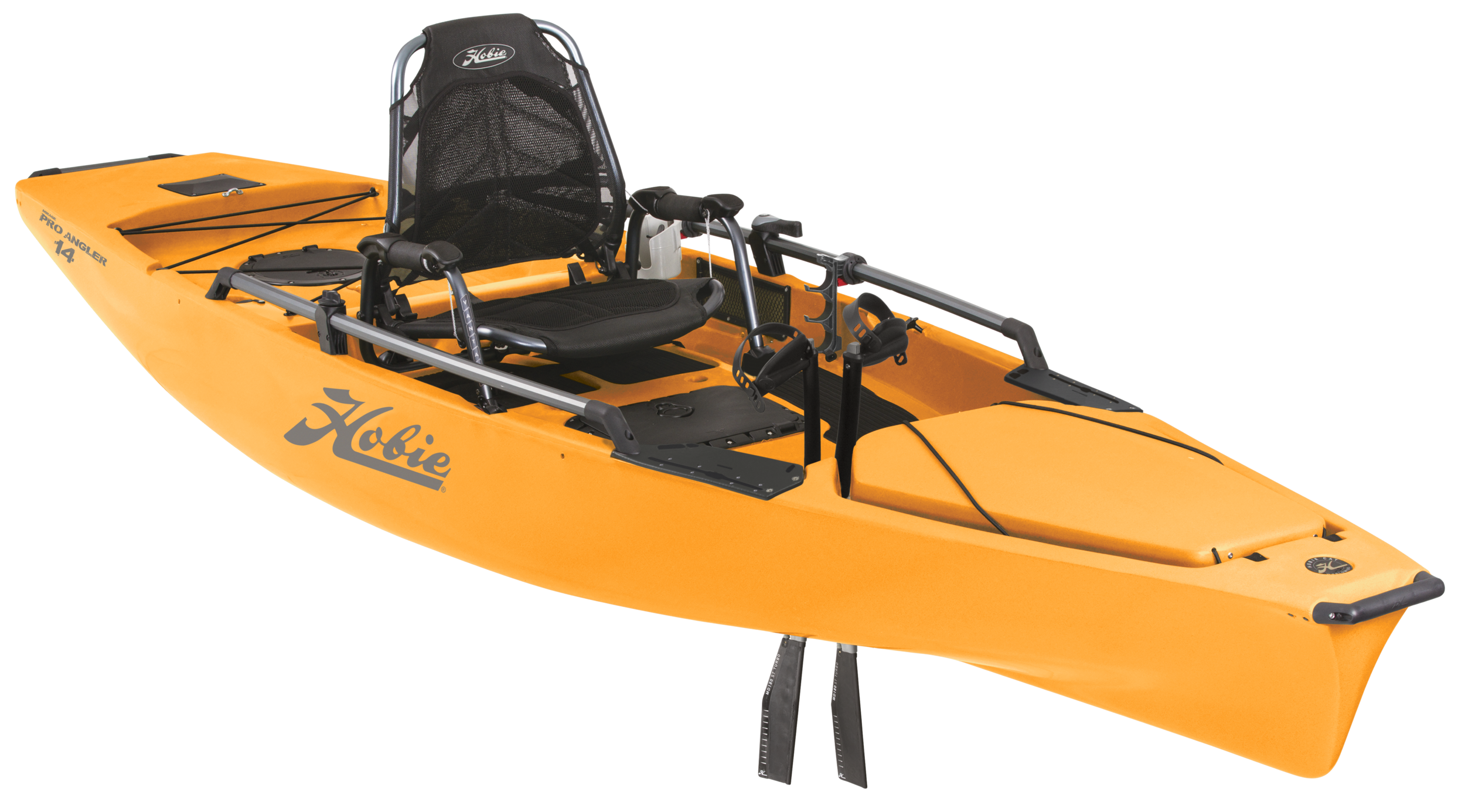 Mirage Pro Angler 14   Hobie's original Pro Angler packs extreme fishing utility, with scads of (that's six) horizontal rod lockers, enough tackle compartments to empty a store, and an elevated Vantage ST seat that's as much easy chair as captain's perch.